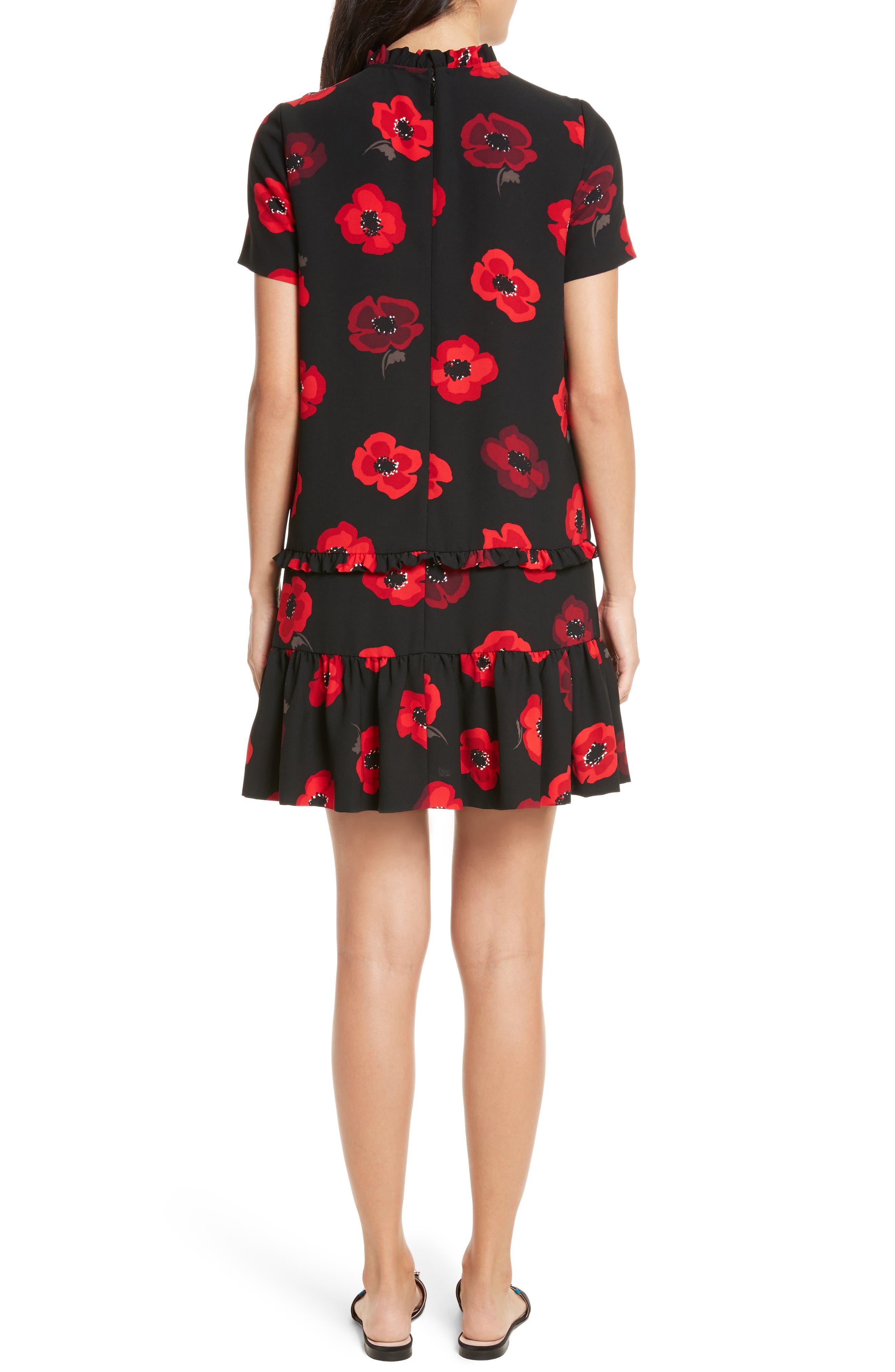 ruffle poppy shift dress,                             Alternate thumbnail 2, color,                             006