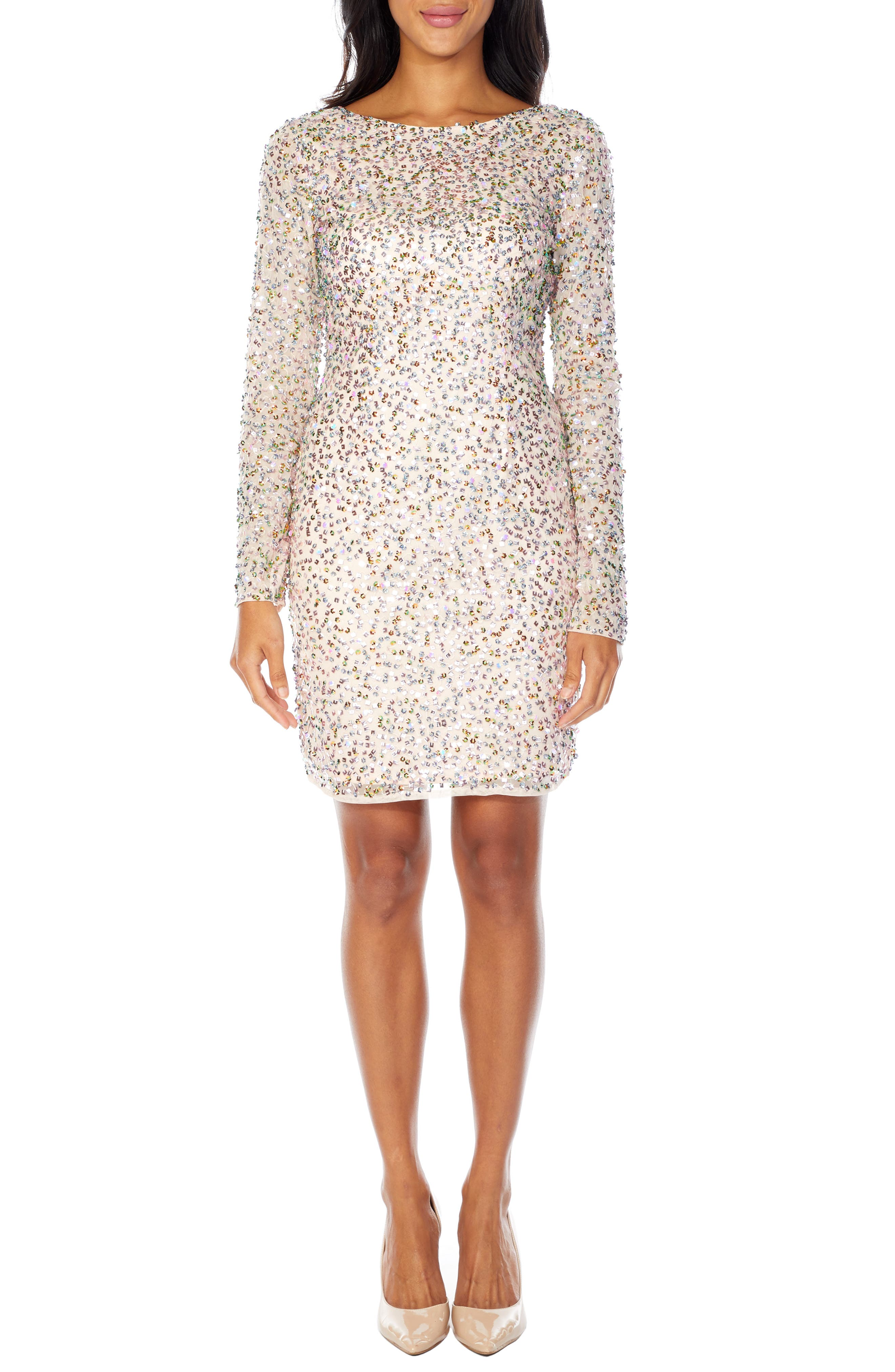 Lace & Beads Akiko Sequin Cocktail Dress, Pink