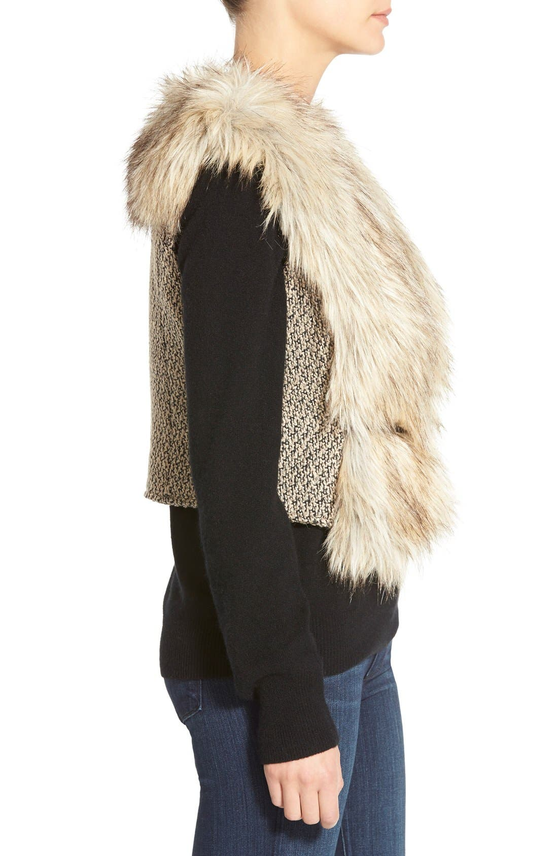 Tweed & Faux Fur Vest,                             Alternate thumbnail 6, color,                             200