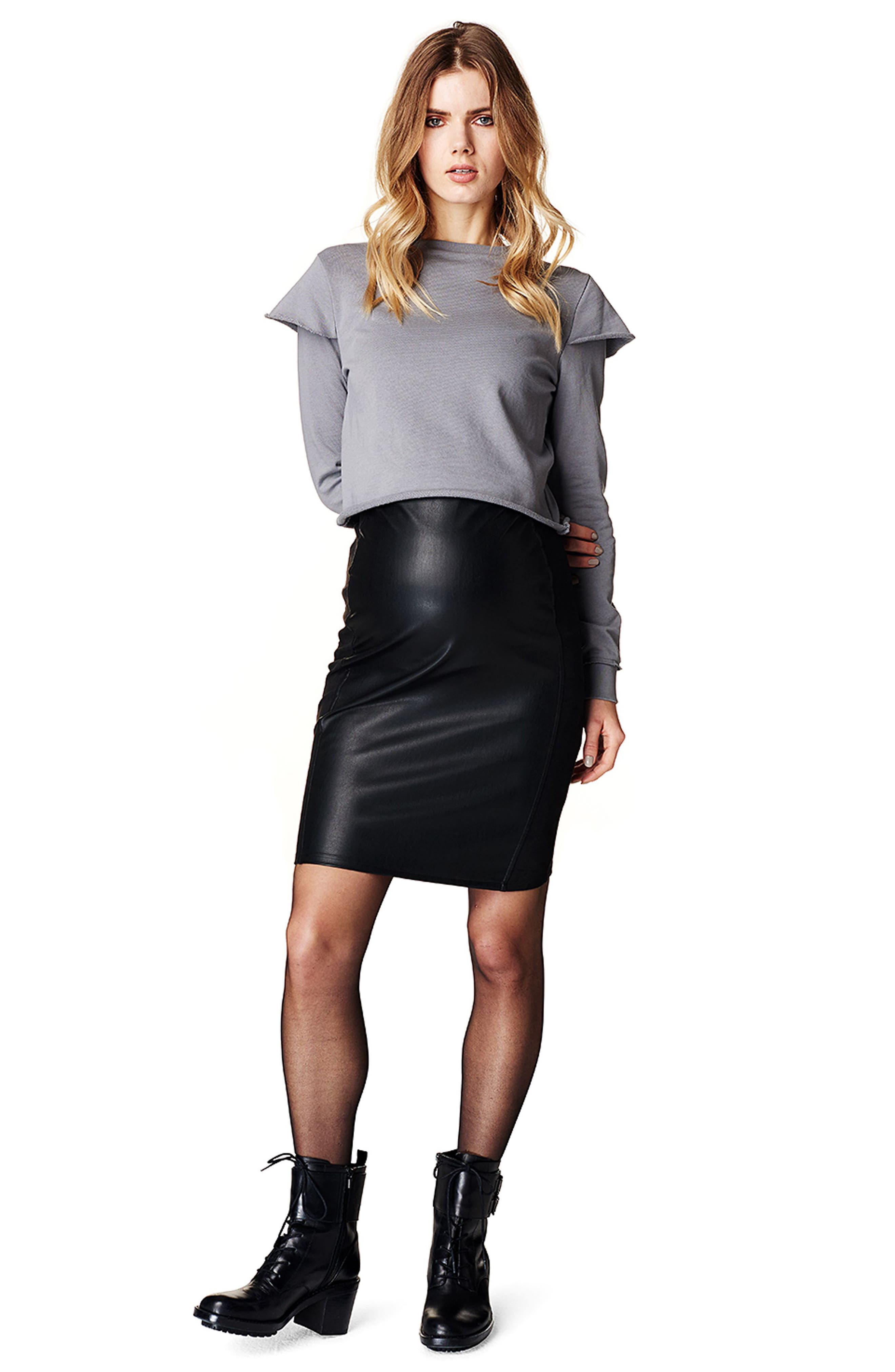 SUPERMOM,                             High Waist Faux Leather Skirt,                             Alternate thumbnail 3, color,                             001