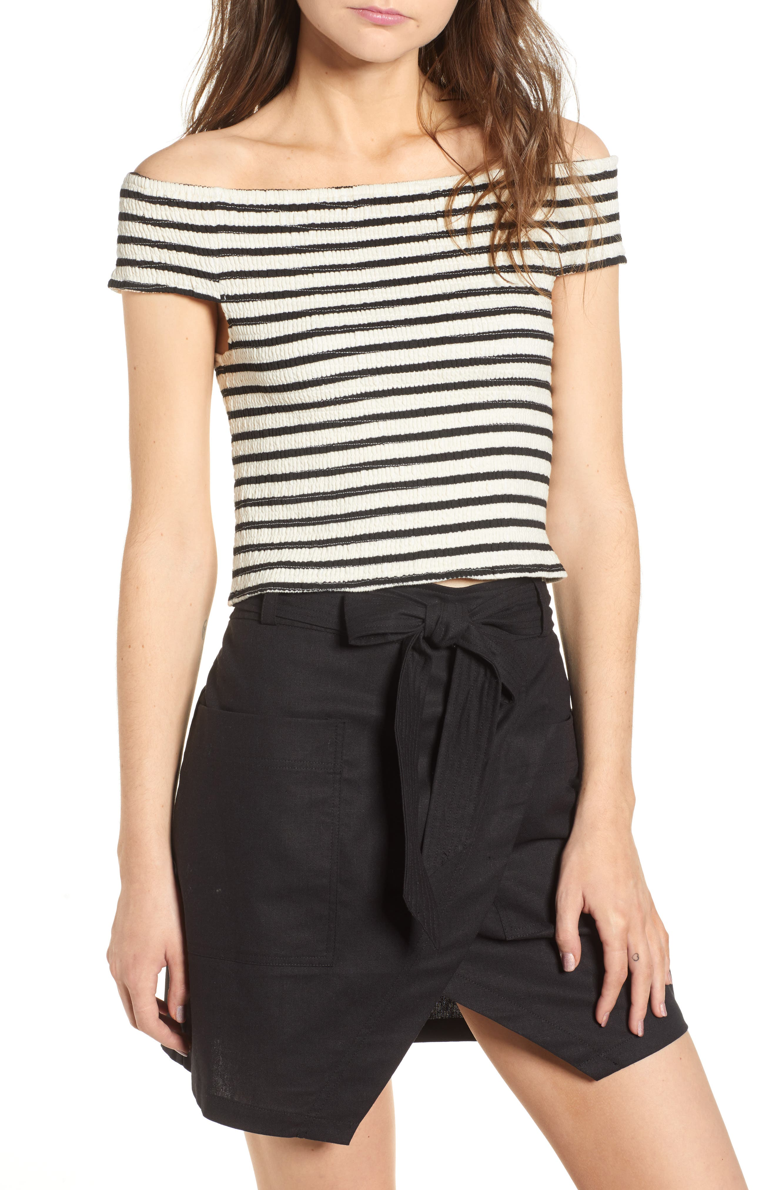 Bishop + Young Stripe Off the Shoulder Top,                             Main thumbnail 1, color,                             BLACK STRIPE