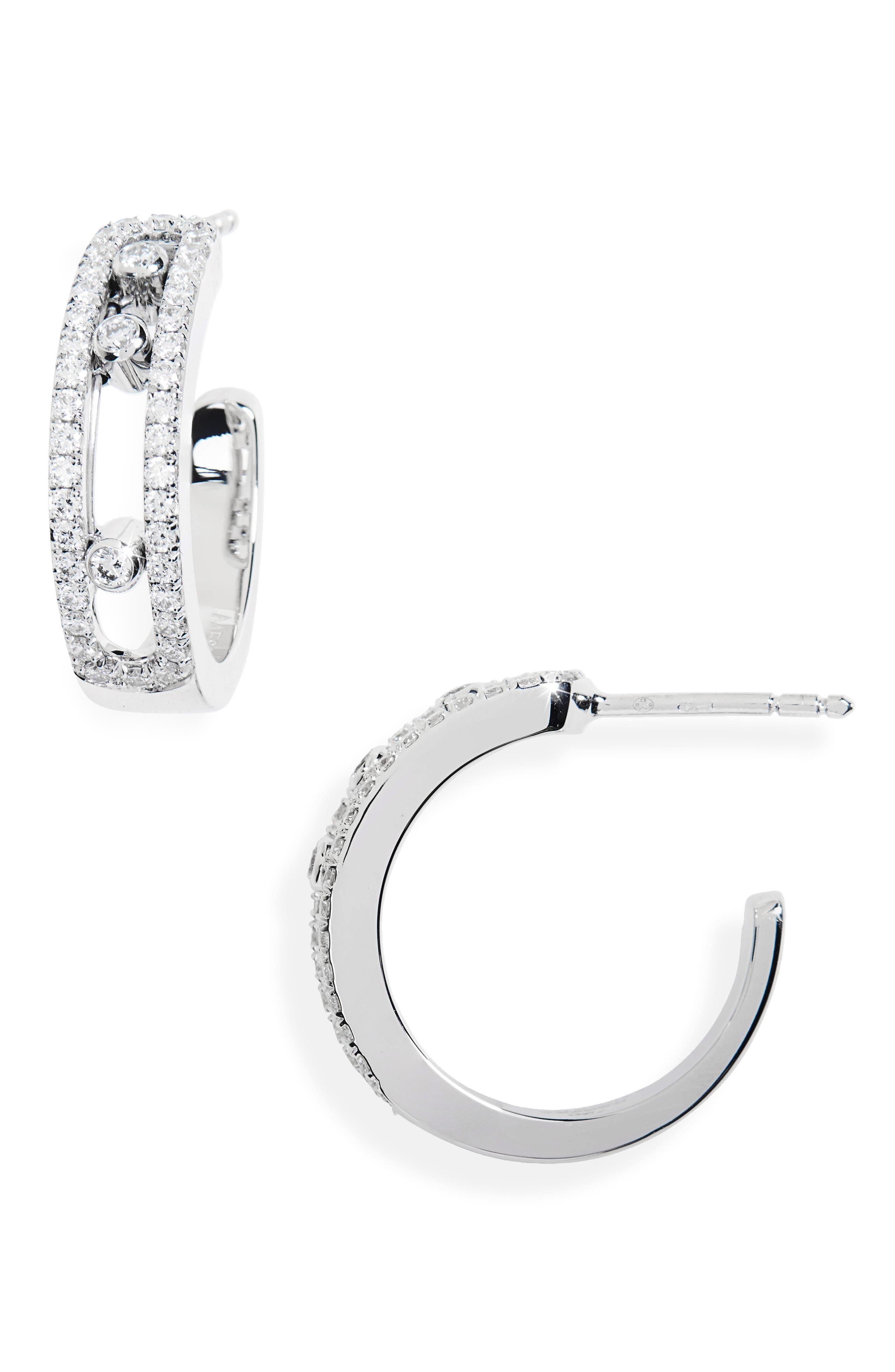 MESSIKA Move Diamond Hoop Earrings in White