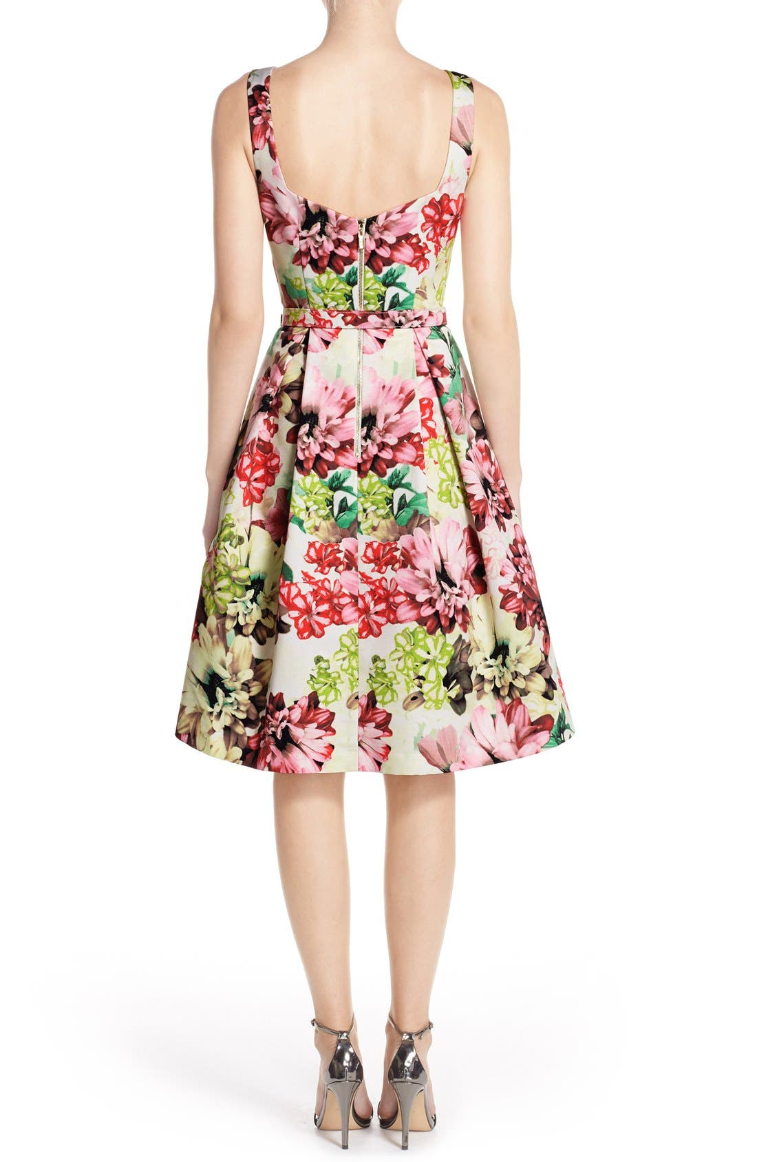 Belted Floral Print Faille Fit & Flare Dress,                             Alternate thumbnail 5, color,                             360