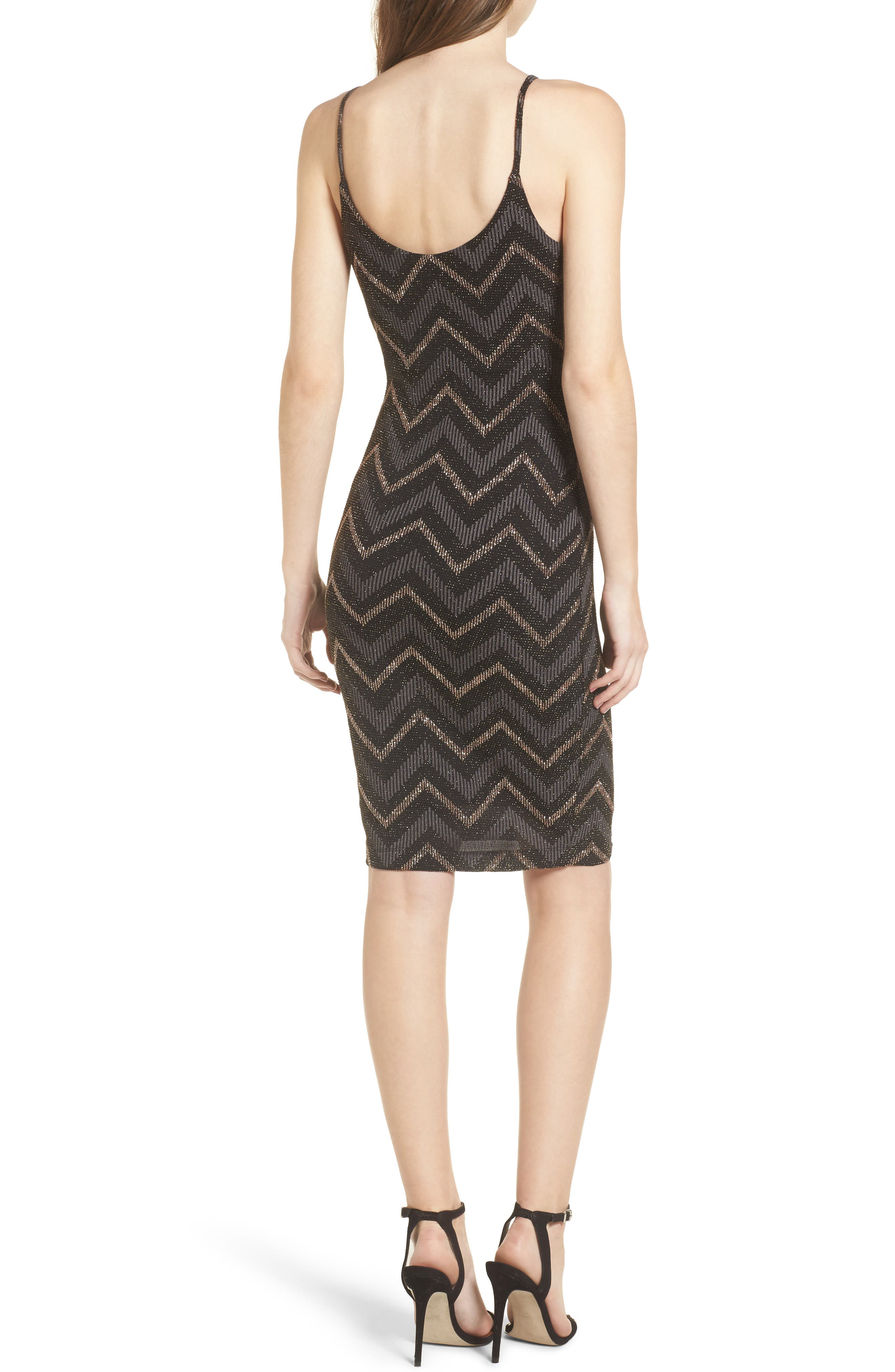 Love Nickie Lew Metallic Chevron Stripe Midi Dress,                             Alternate thumbnail 2, color,                             001