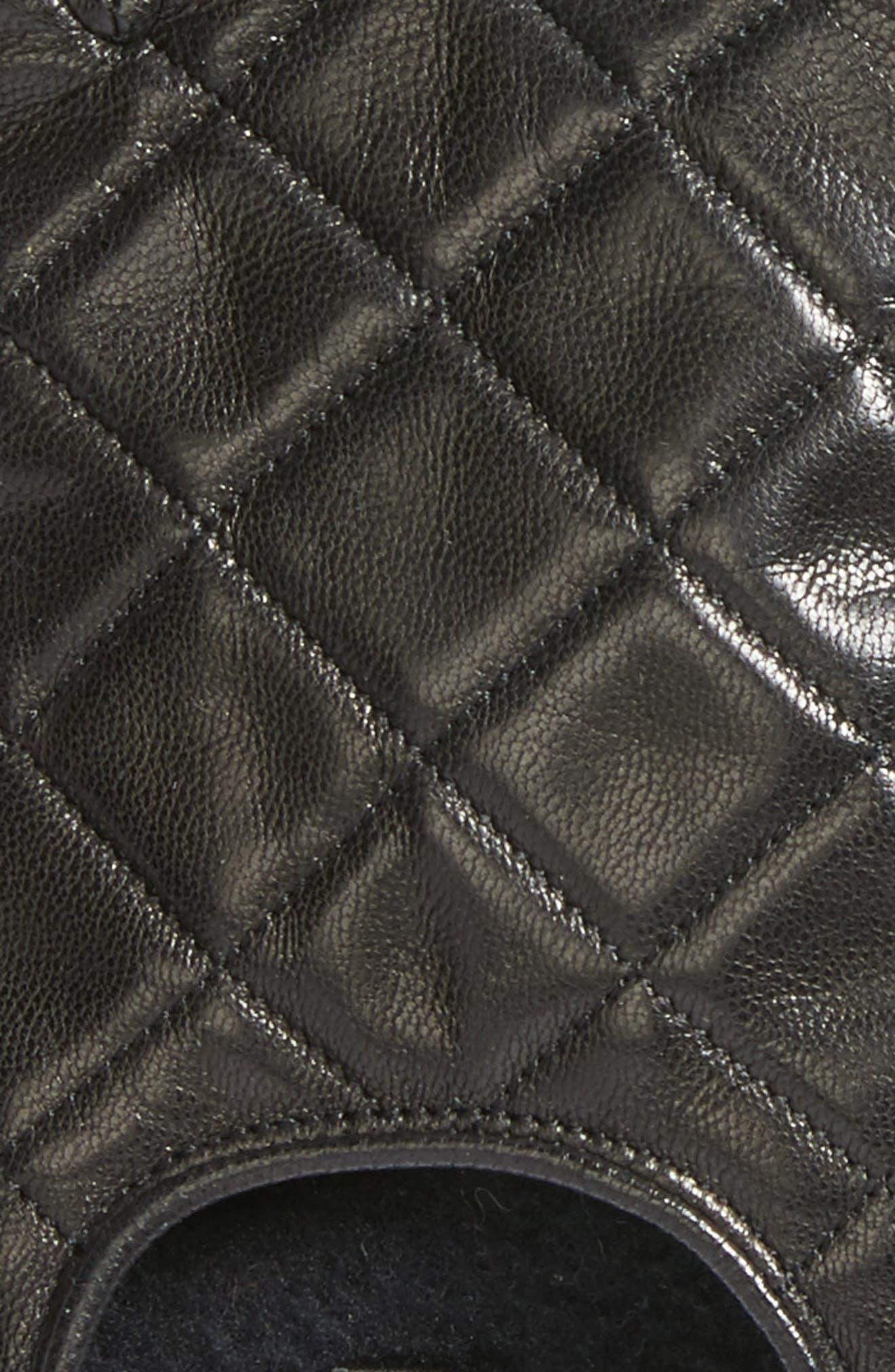 REBECCA MINKOFF,                             Quilted Goatskin Leather Fingerless Gloves,                             Alternate thumbnail 2, color,                             001