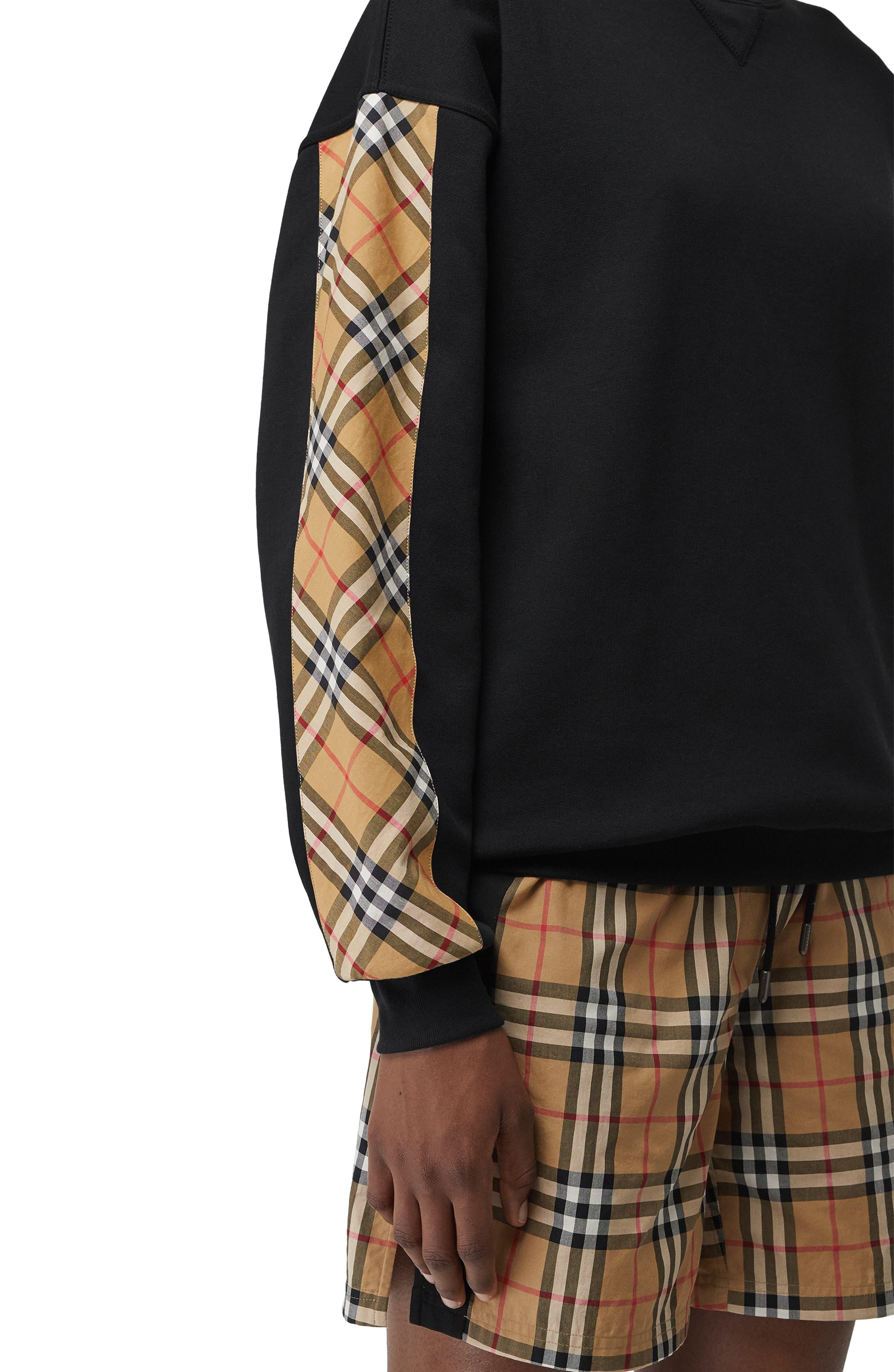 Bronx Check Sleeve Sweatshirt,                             Alternate thumbnail 3, color,                             BLACK