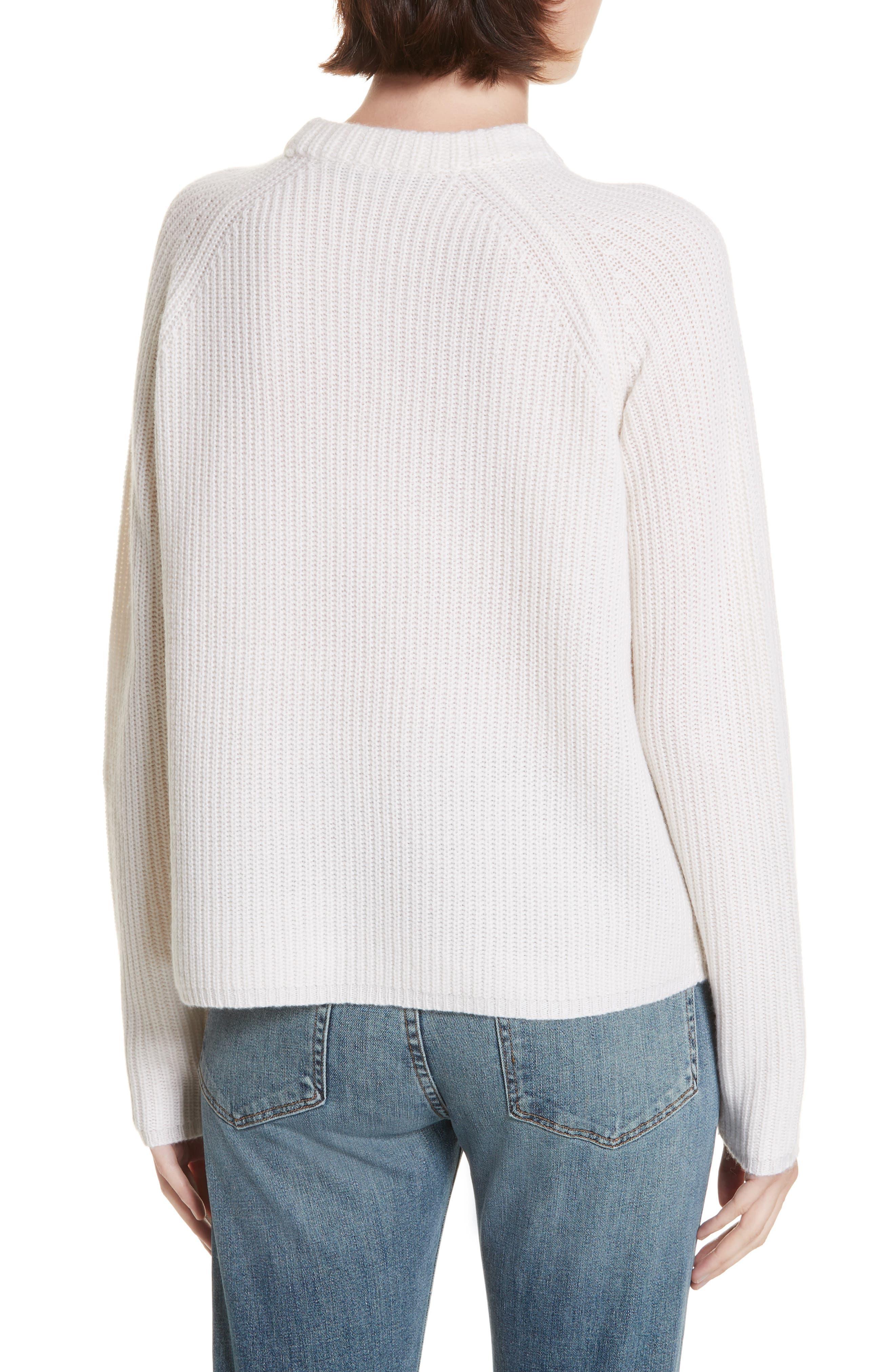 Fisherman Crewneck Cashmere Sweater,                             Alternate thumbnail 2, color,                             IVORY