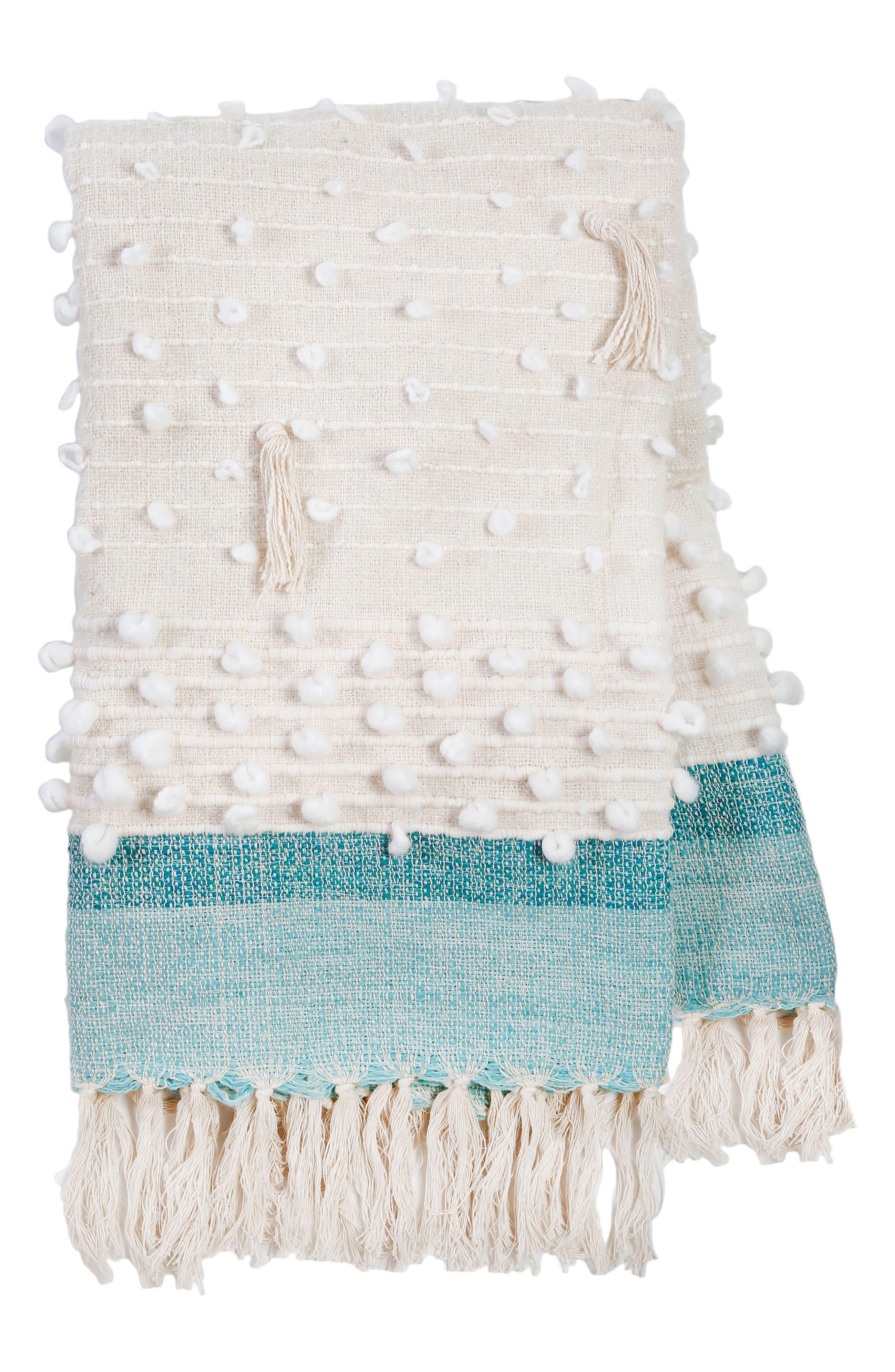 Ziggy Woven Throw Blanket,                         Main,                         color, IVORY/ AQUA