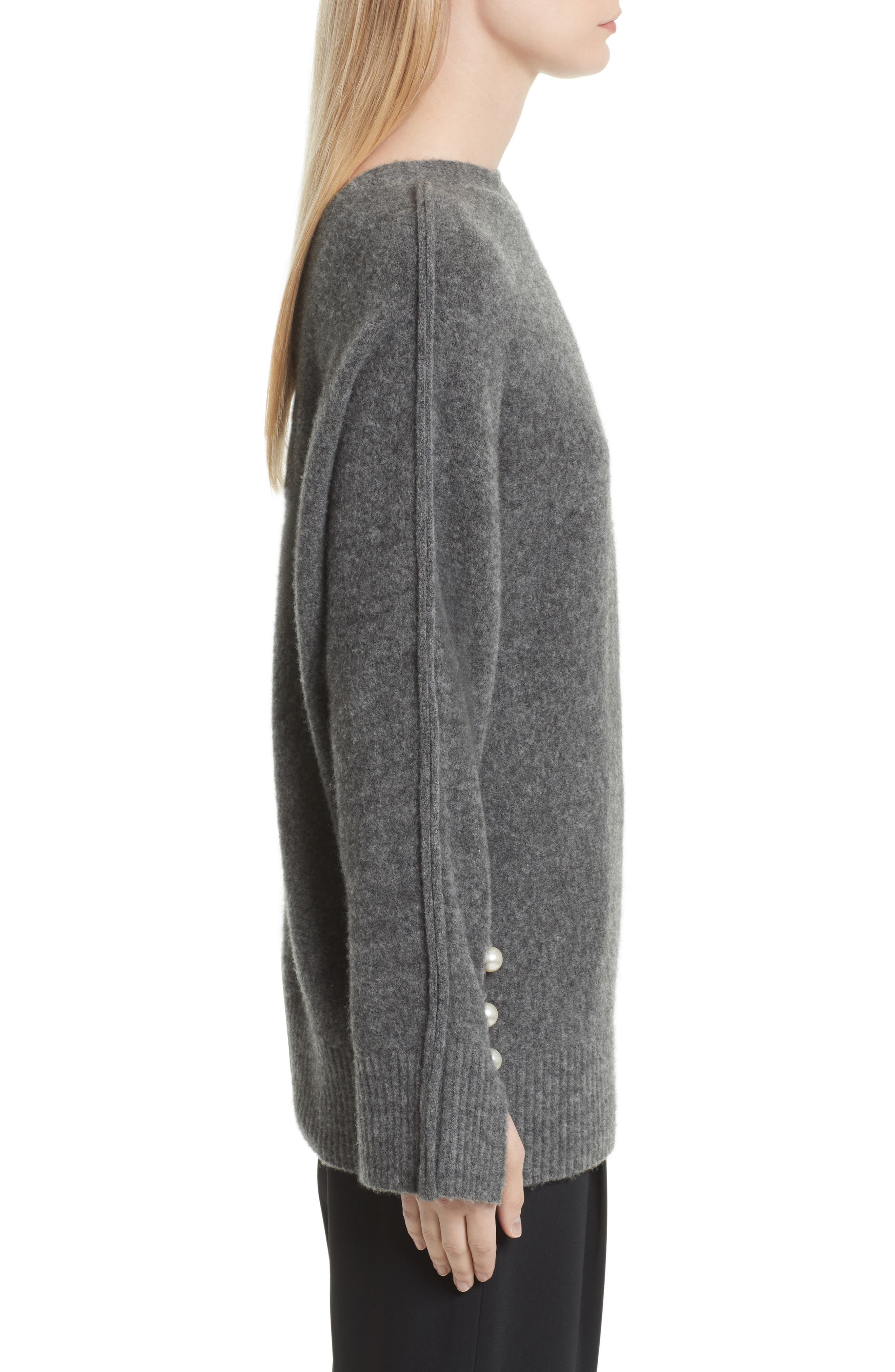 V-Back Sweater with Faux Pearl Cuffs,                             Alternate thumbnail 3, color,                             021