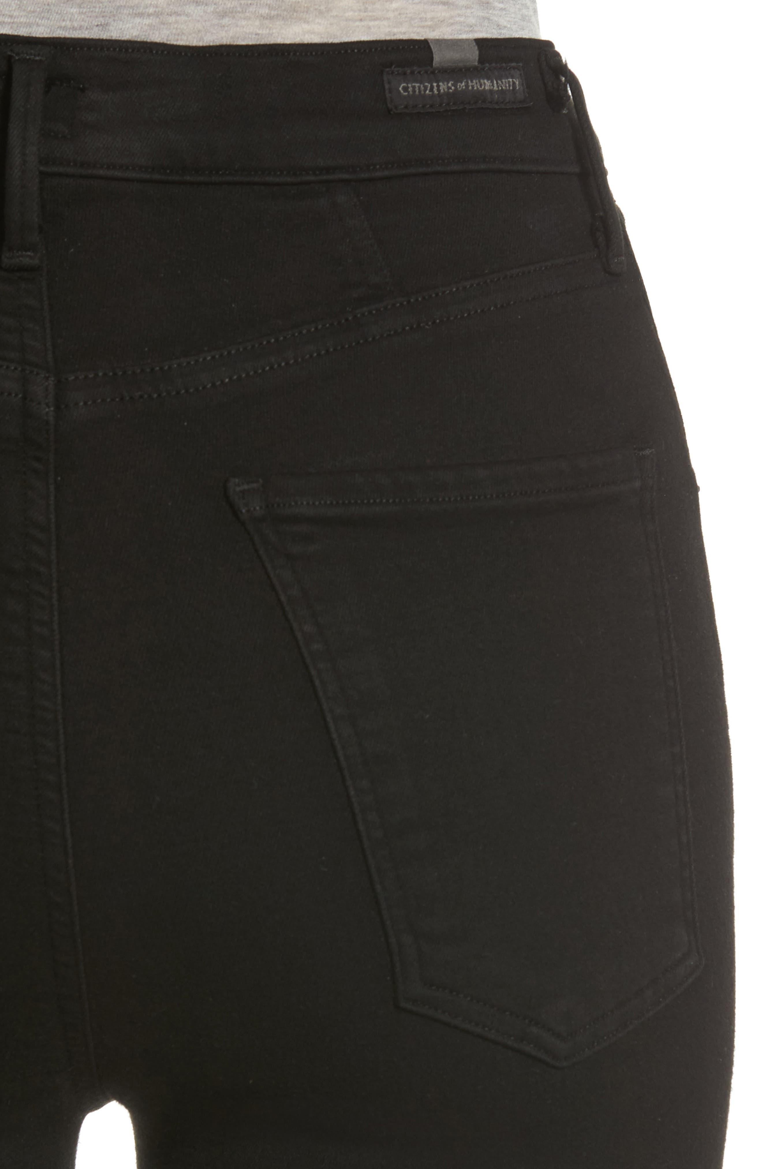 Chrissy High Waist Skinny Jeans,                             Alternate thumbnail 4, color,                             ALL BLACK