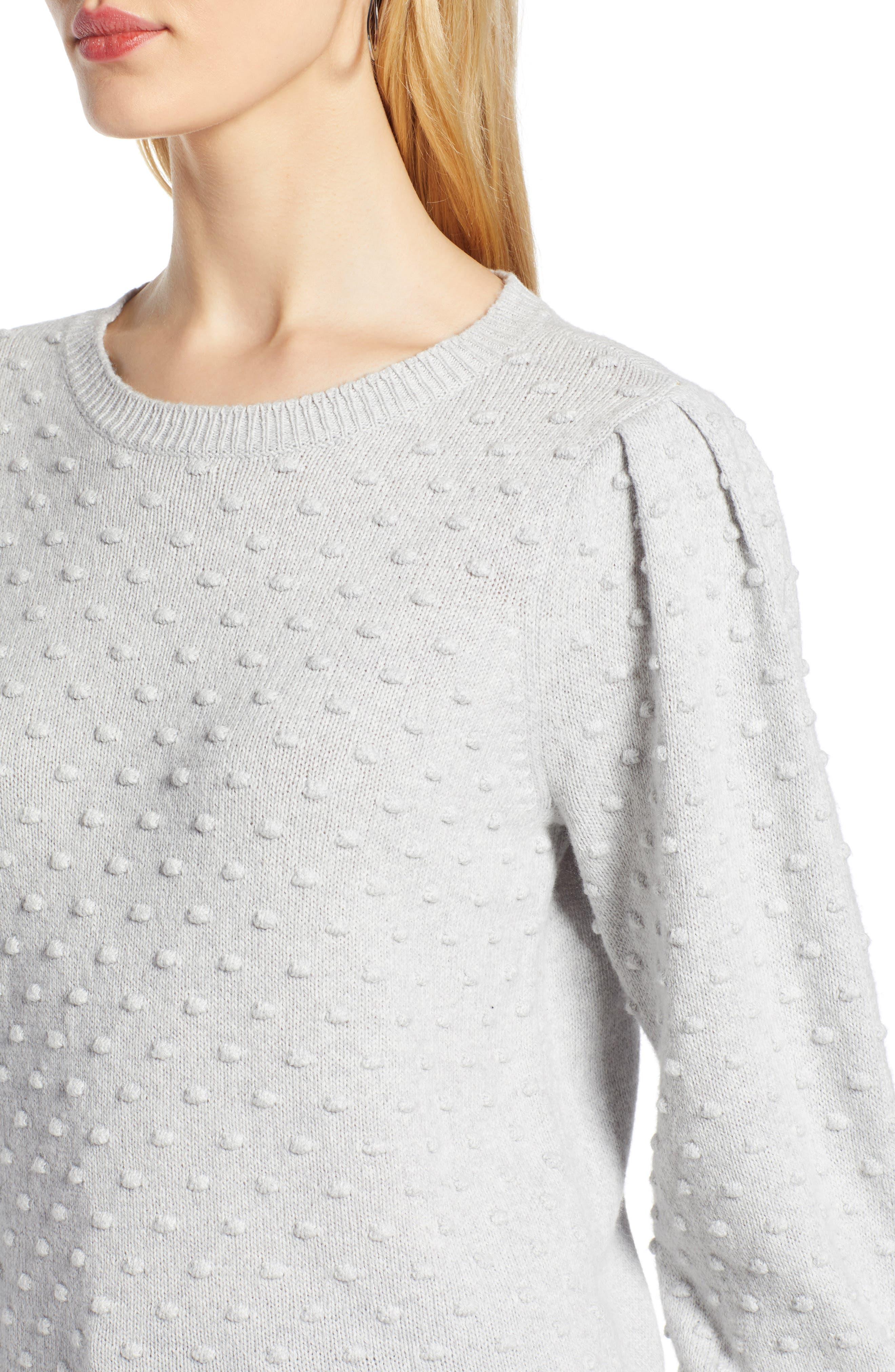 Bobble Stitch Sweater,                             Alternate thumbnail 4, color,                             GREY LIGHT HEATHER