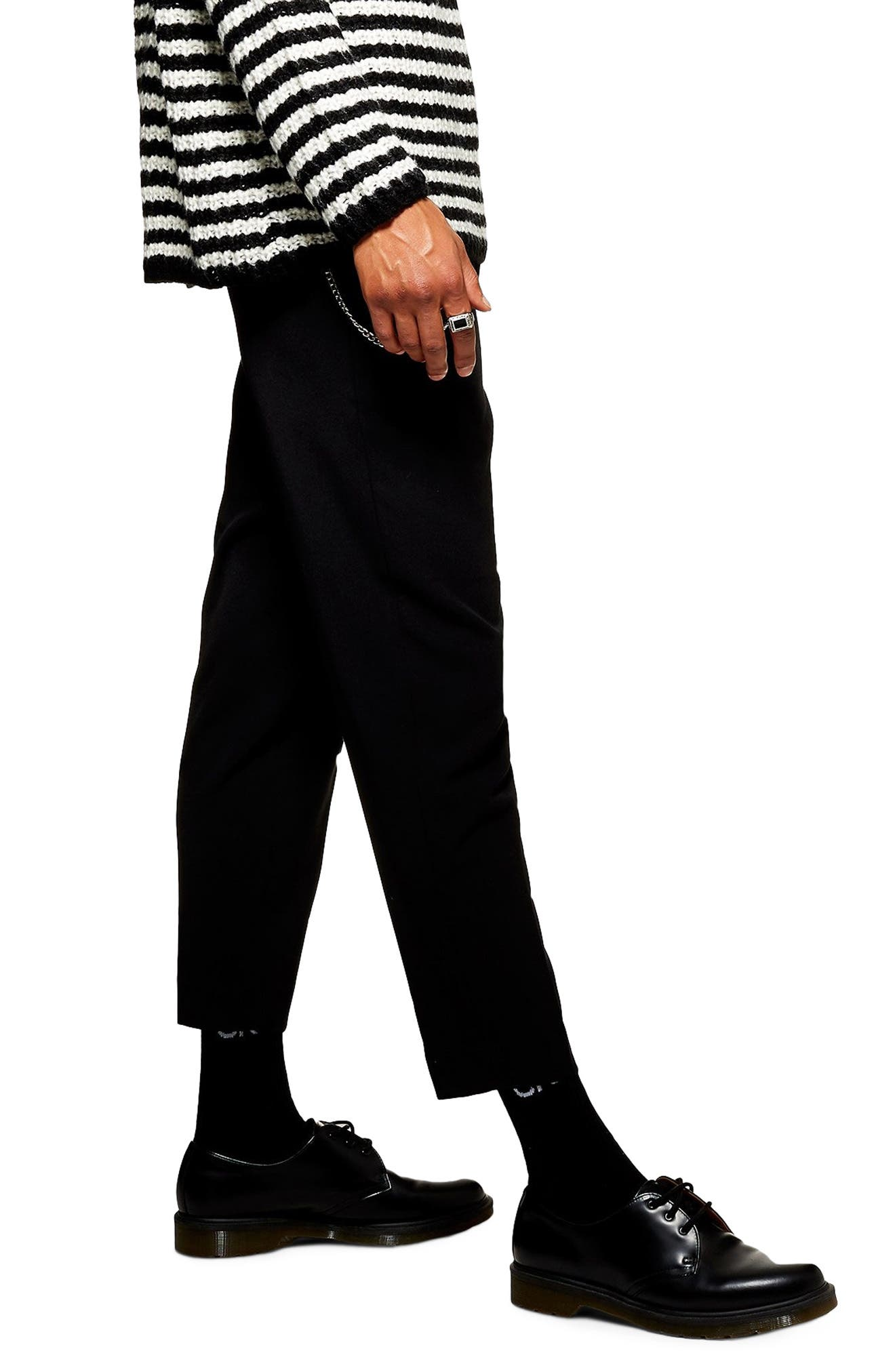 Tapered Trousers,                             Alternate thumbnail 3, color,                             BLACK