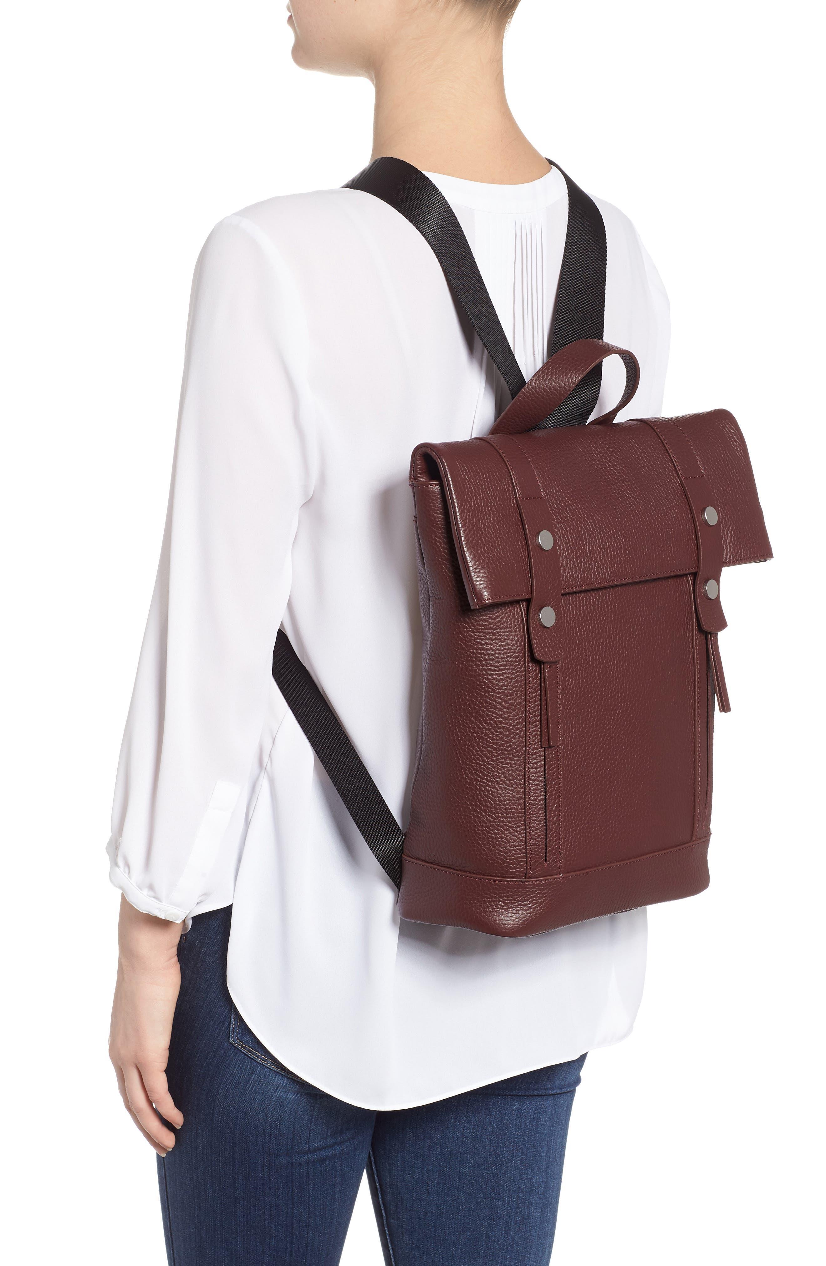 Remy Pebbled Leather Backpack,                             Alternate thumbnail 2, color,                             BURGUNDY FIG