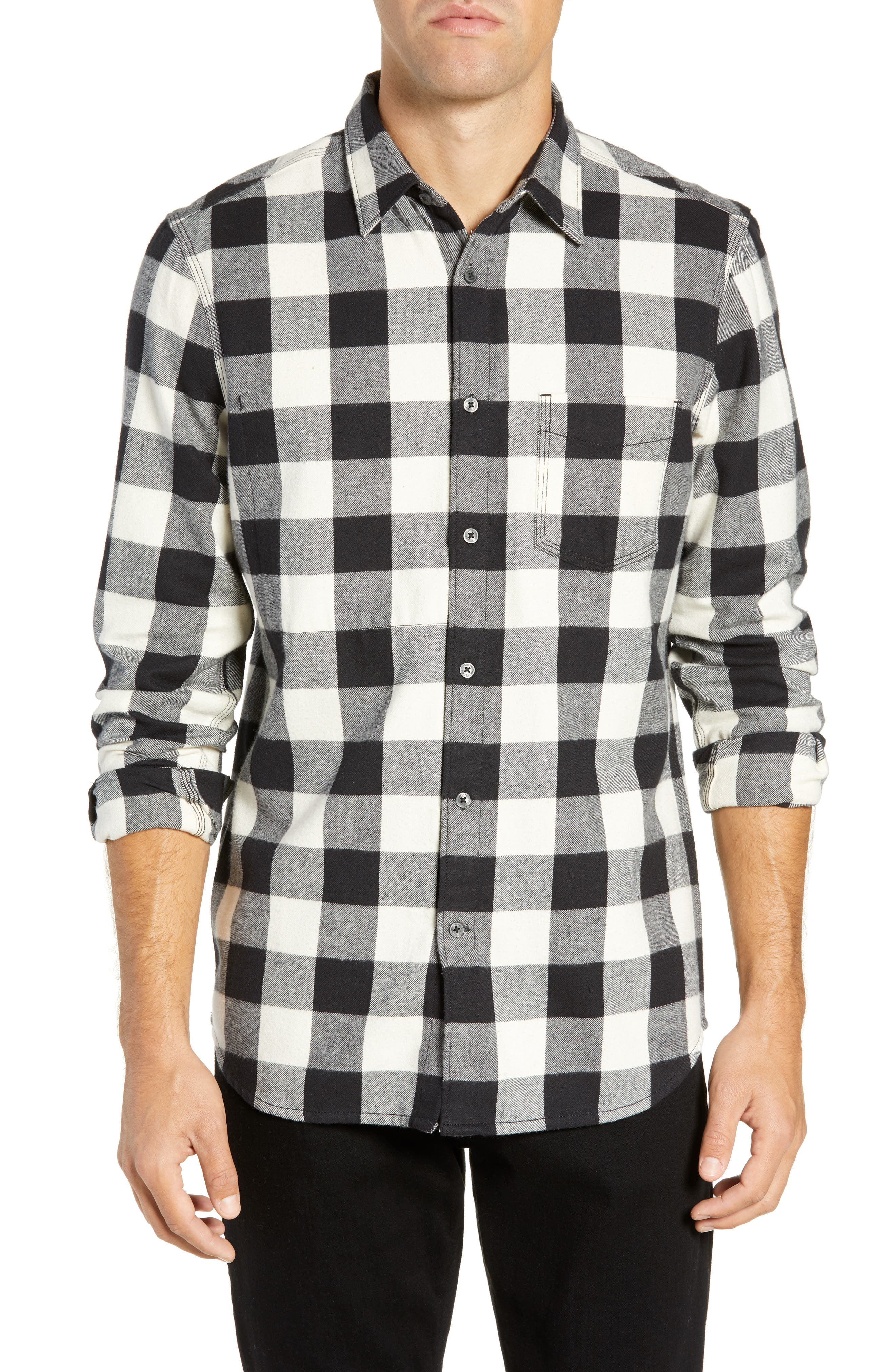 French Connection Kahama Regular Fit Flannel Sport Shirt, Grey