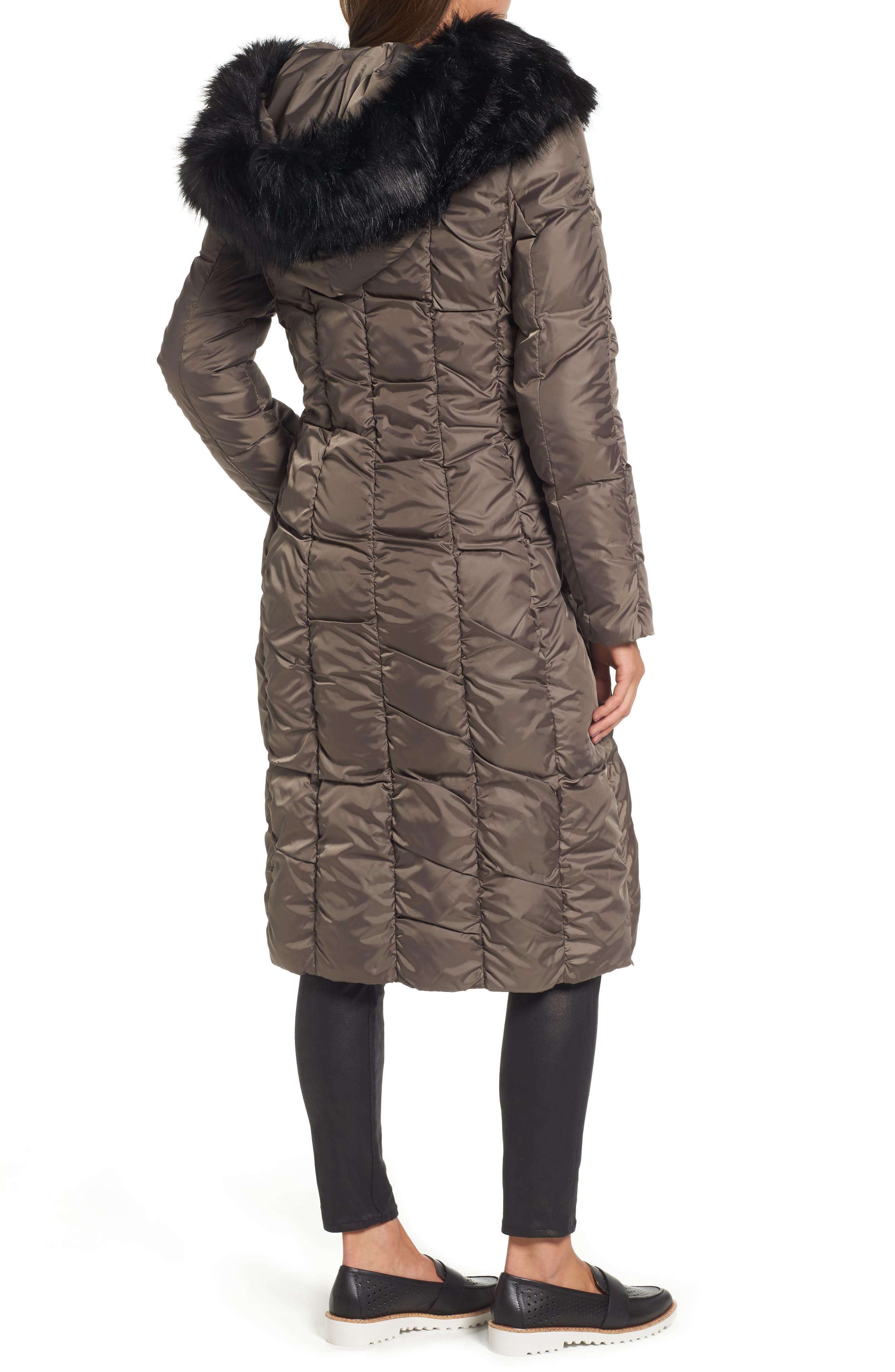 Long Faux Fur Trim Coat,                             Alternate thumbnail 4, color,