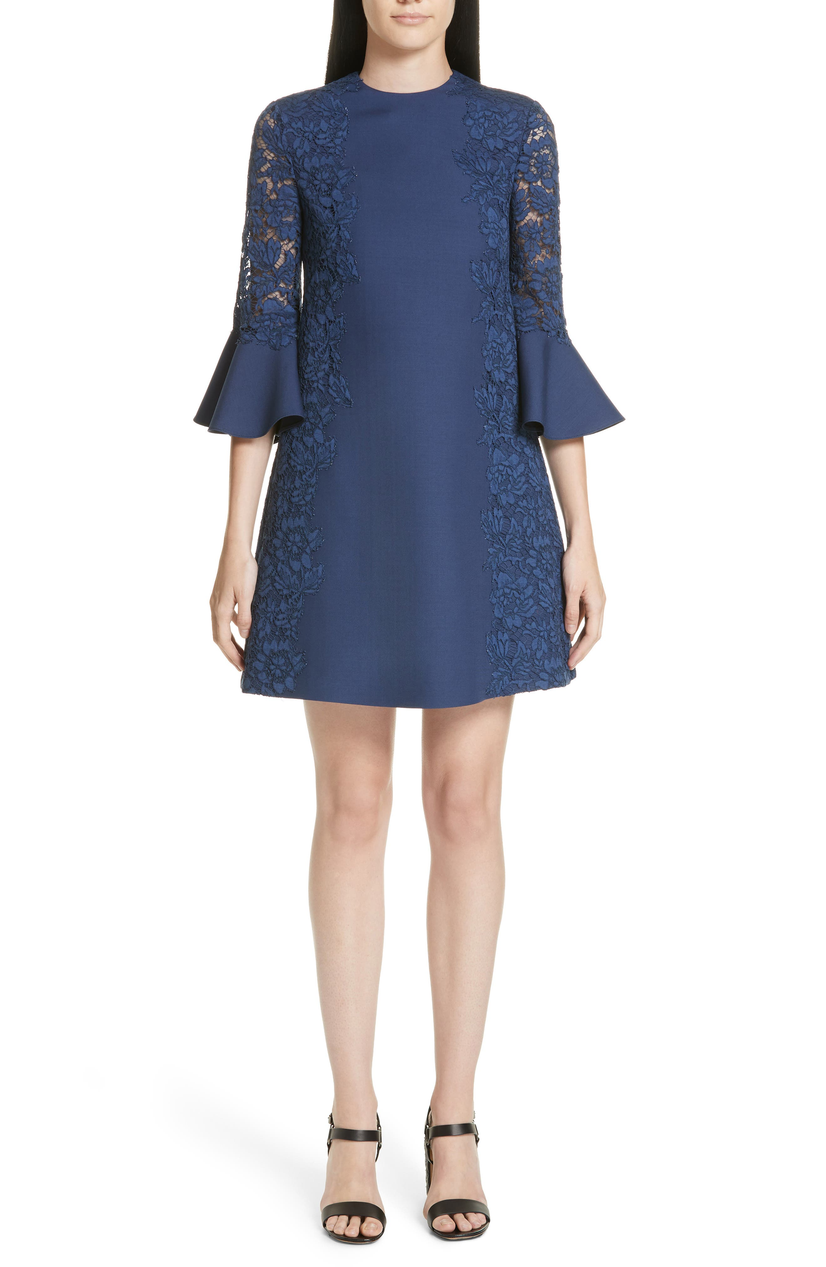 Valentino Lace & Crepe Couture Bell Sleeve Dress, Blue