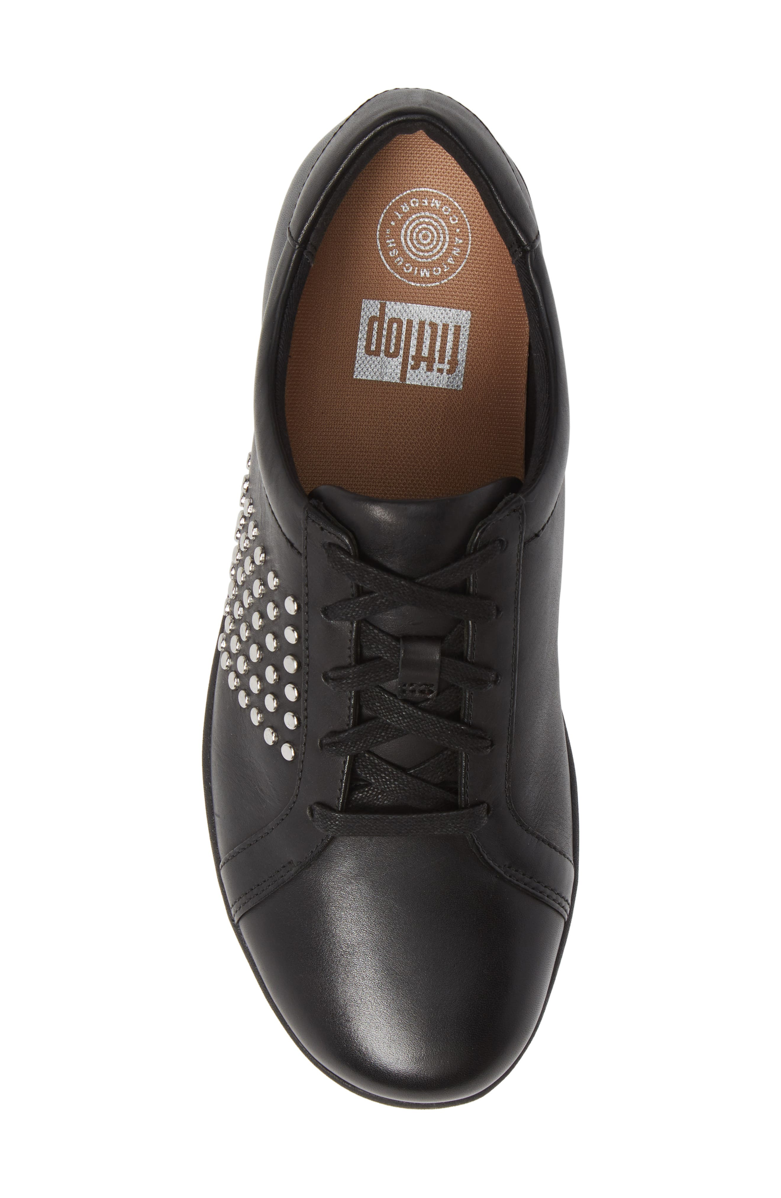 F-Sporty II Studded Sneaker,                             Alternate thumbnail 5, color,                             BLACK LEATHER
