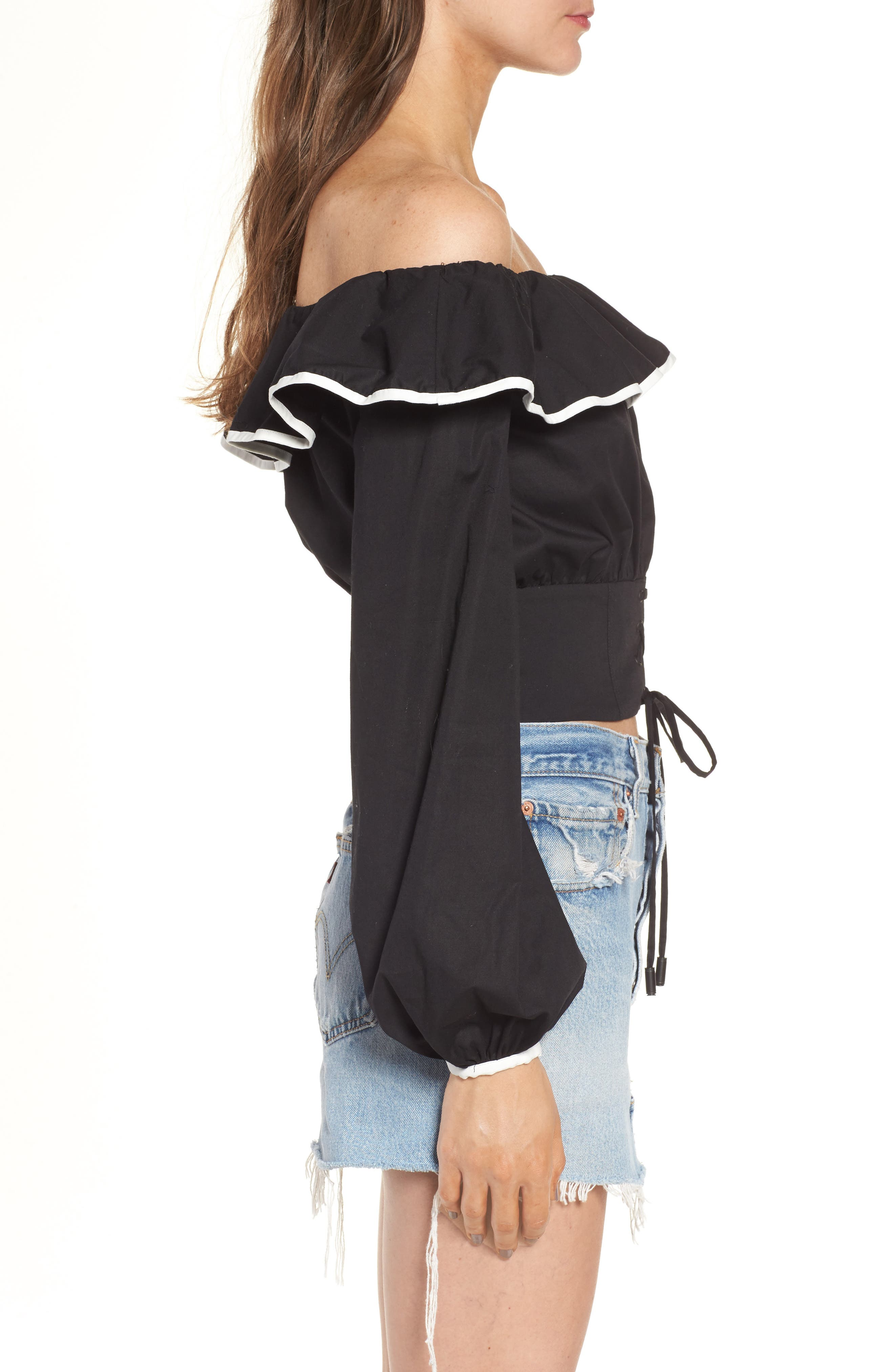 Bailey Off the Shoulder Top,                             Alternate thumbnail 3, color,                             001