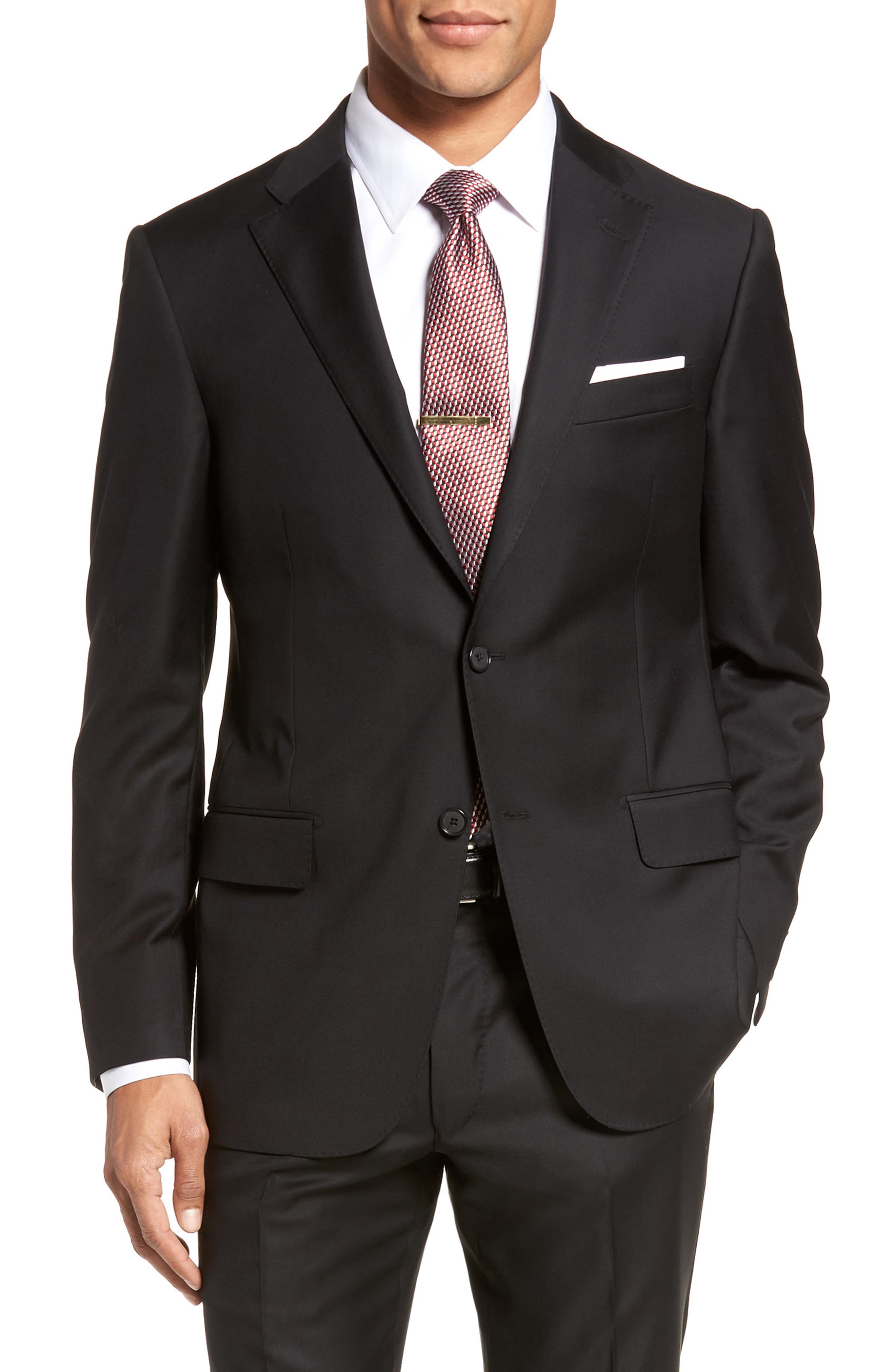 Modern H Fit Solid Loro Piana Wool Suit,                             Alternate thumbnail 5, color,                             BLACK SOLID
