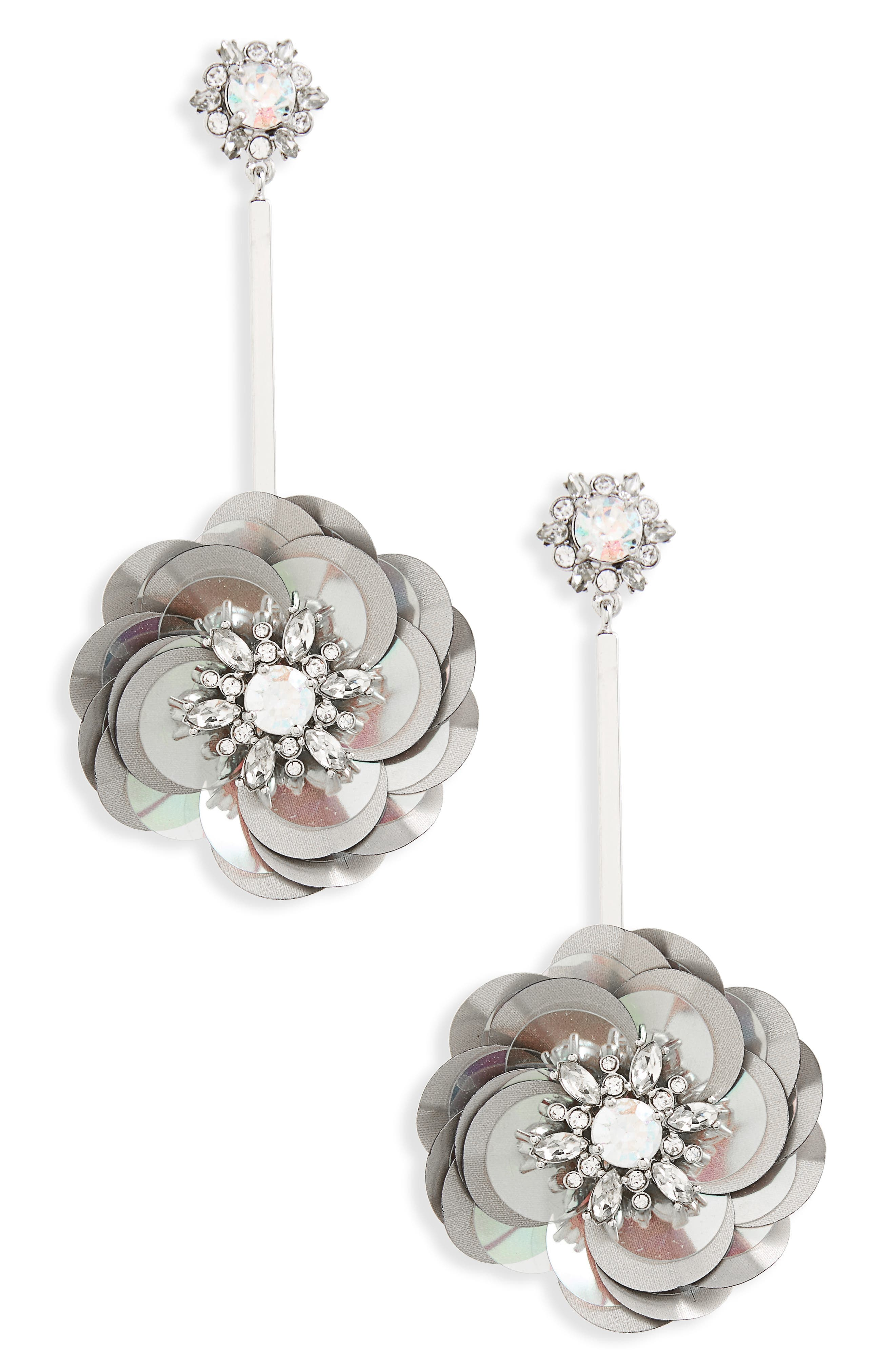 snowy nights sequin drop earrings,                         Main,                         color,