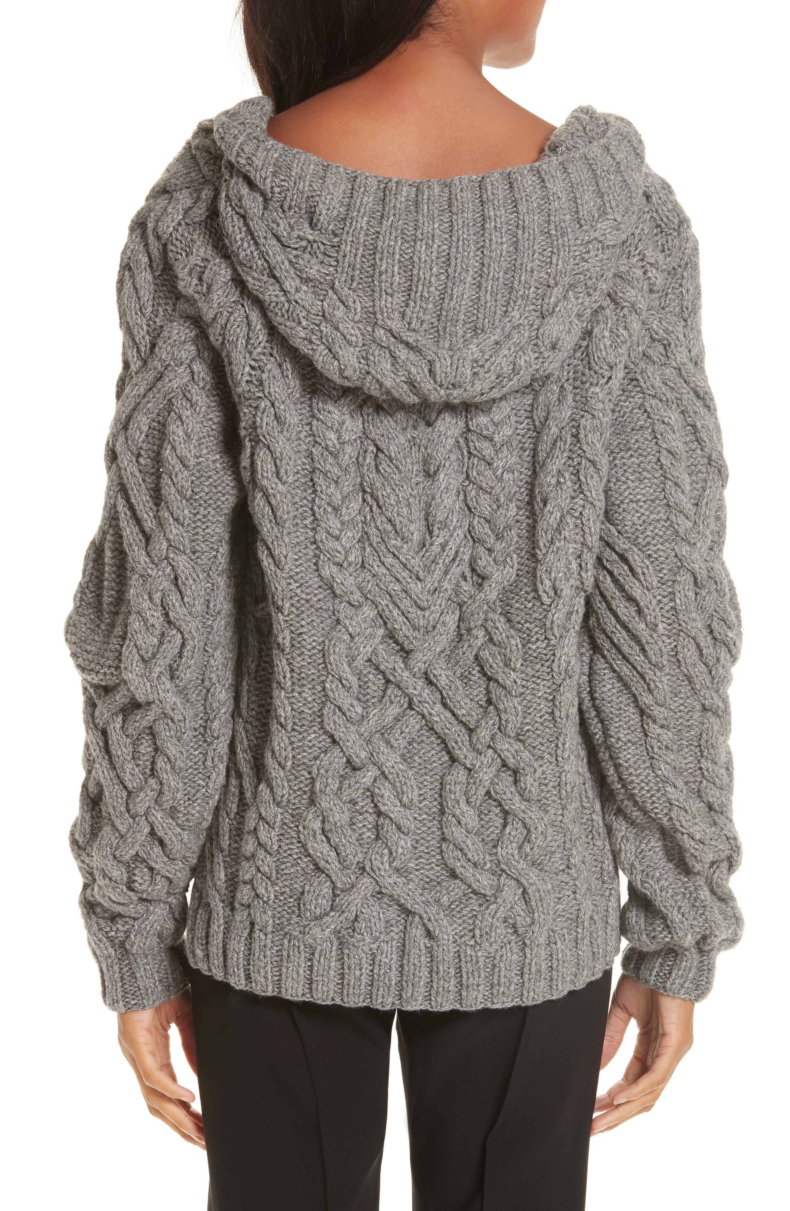 Mélange Cable Knit Hooded Sweater,                             Alternate thumbnail 2, color,                             GREY MELANGE