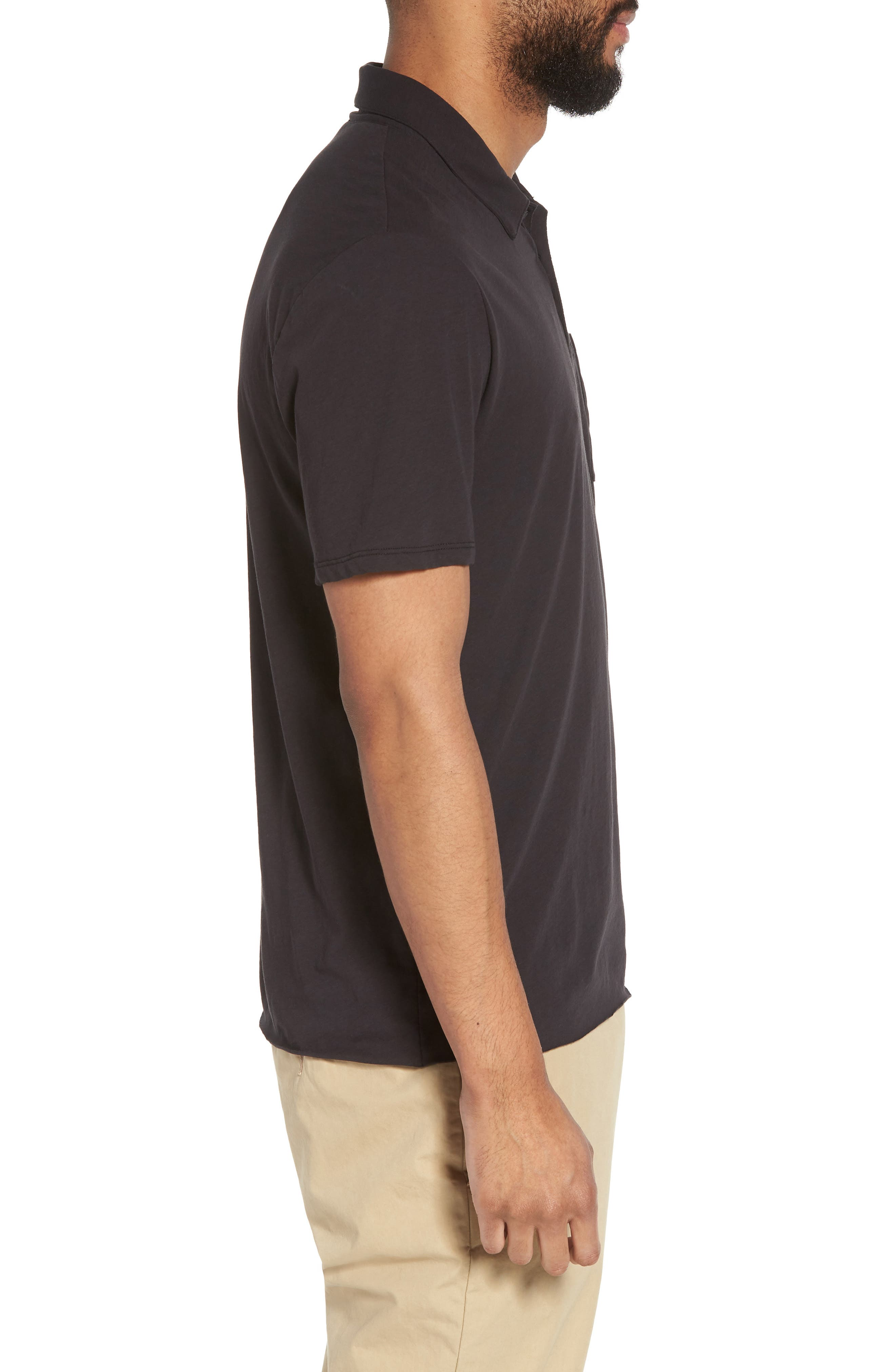 VINCE,                             Cotton Polo Shirt,                             Alternate thumbnail 3, color,                             001