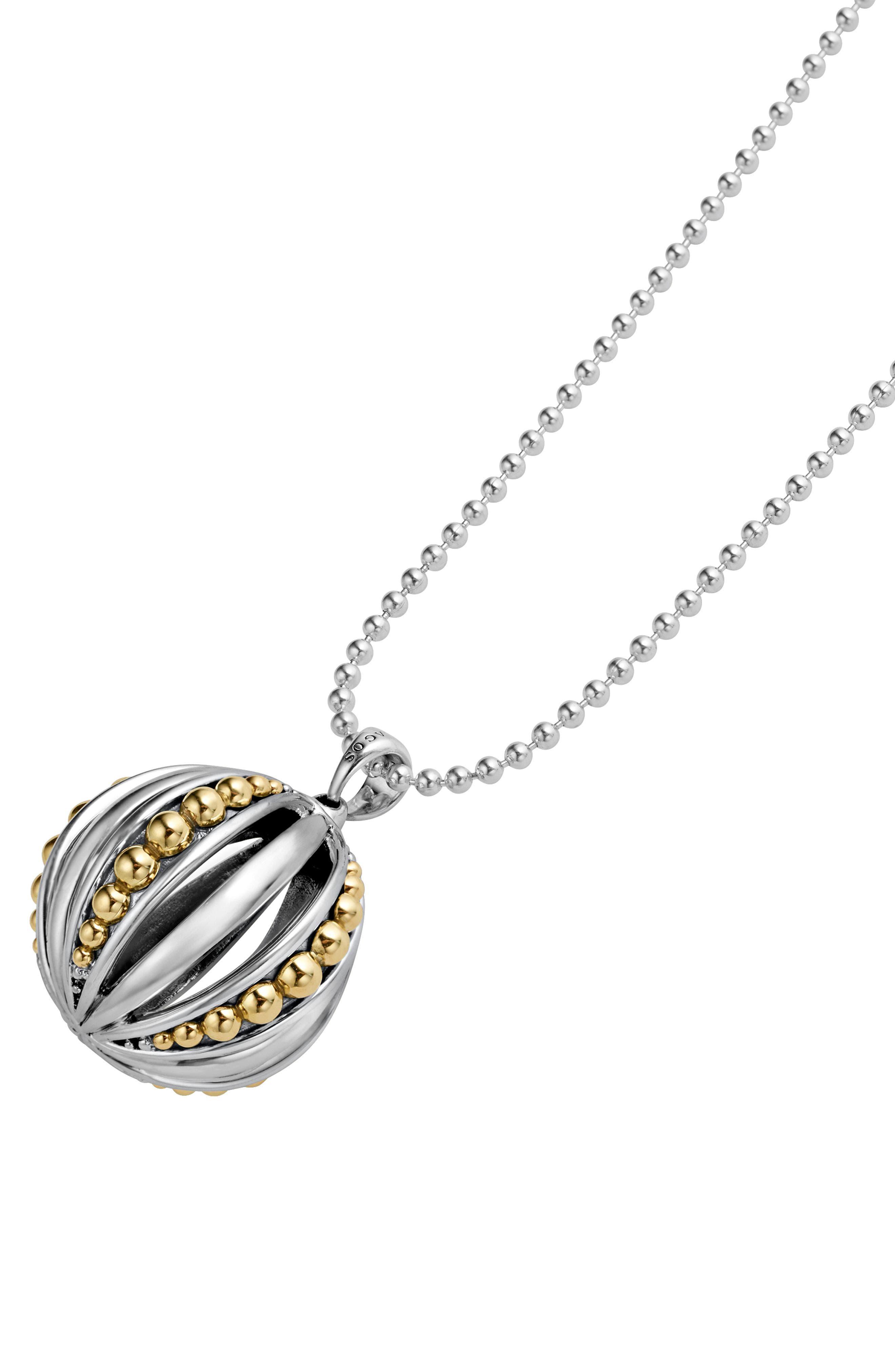Caviar Talisman Beaded Cage Ball Pendant Necklace,                             Alternate thumbnail 3, color,                             SILVER/ 18K GOLD