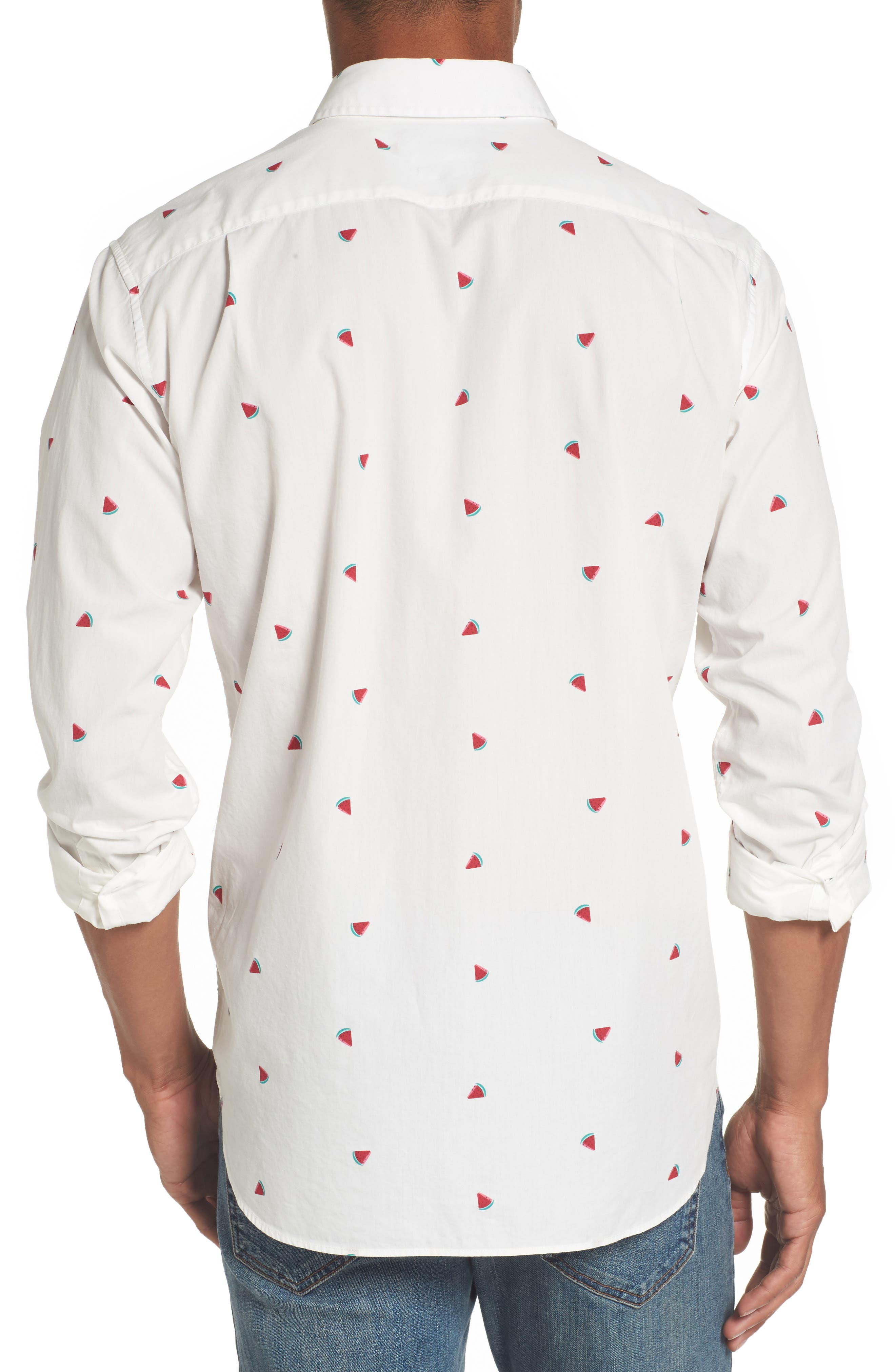 Summerweight Slim Fit Print Sport Shirt,                             Alternate thumbnail 2, color,                             100