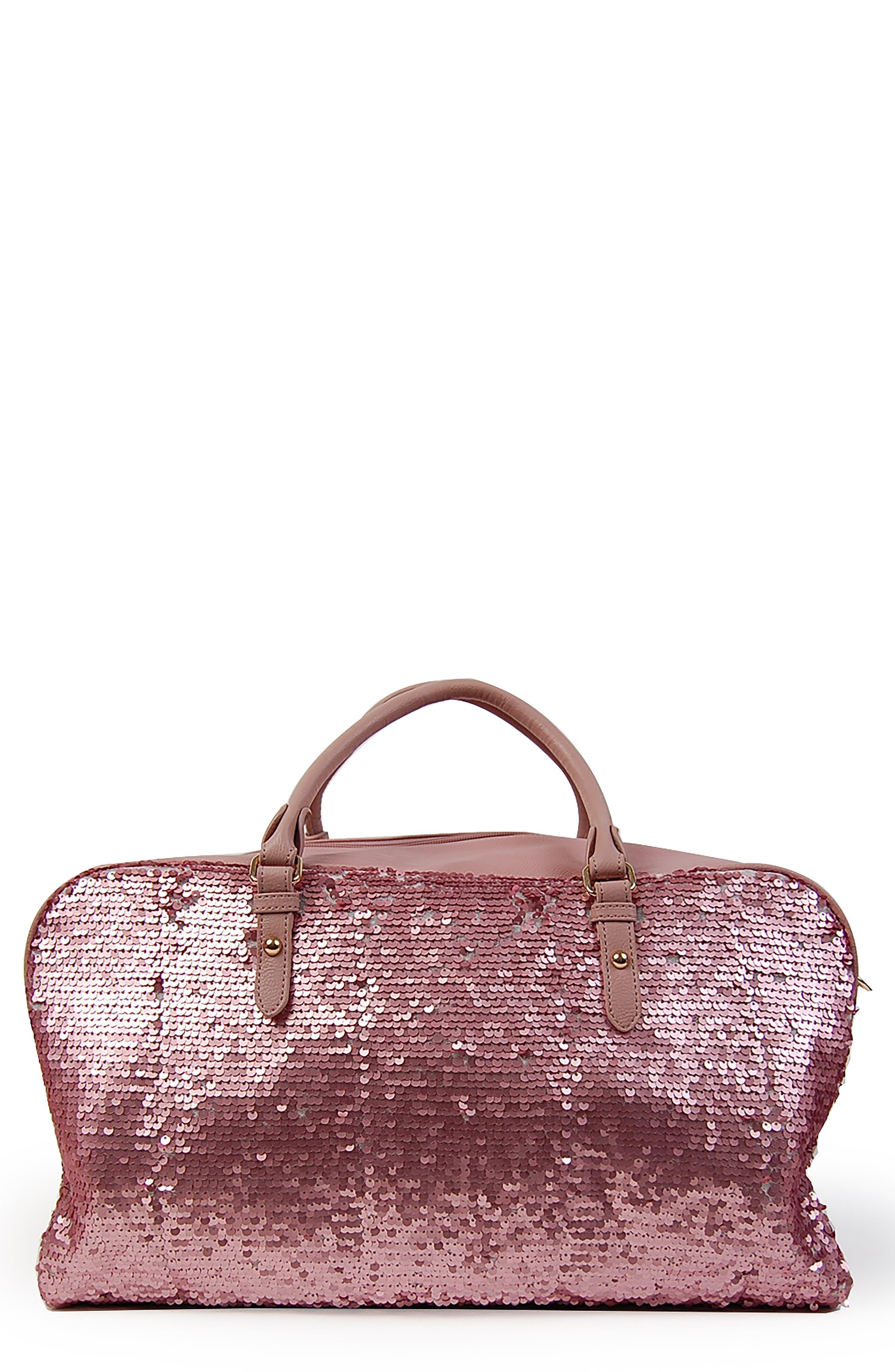 Sequin Duffel Bag, Main, color, MAUVE