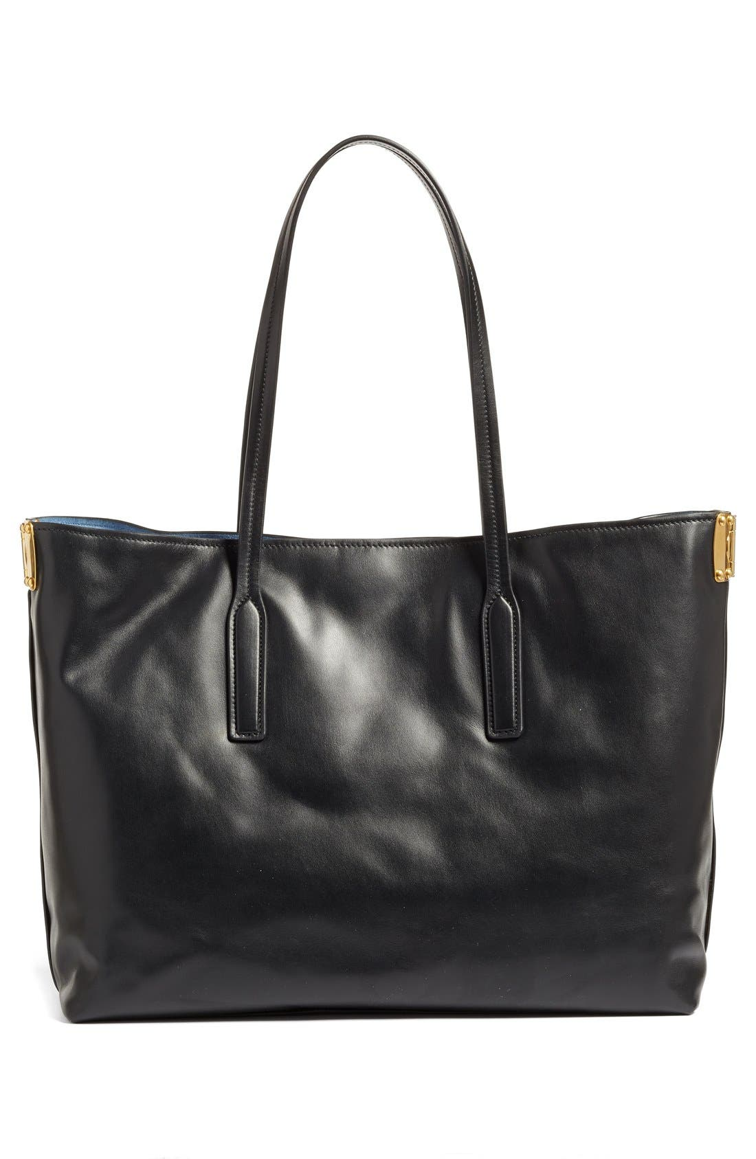 Large Calfskin Leather Shopper,                             Alternate thumbnail 4, color,                             905