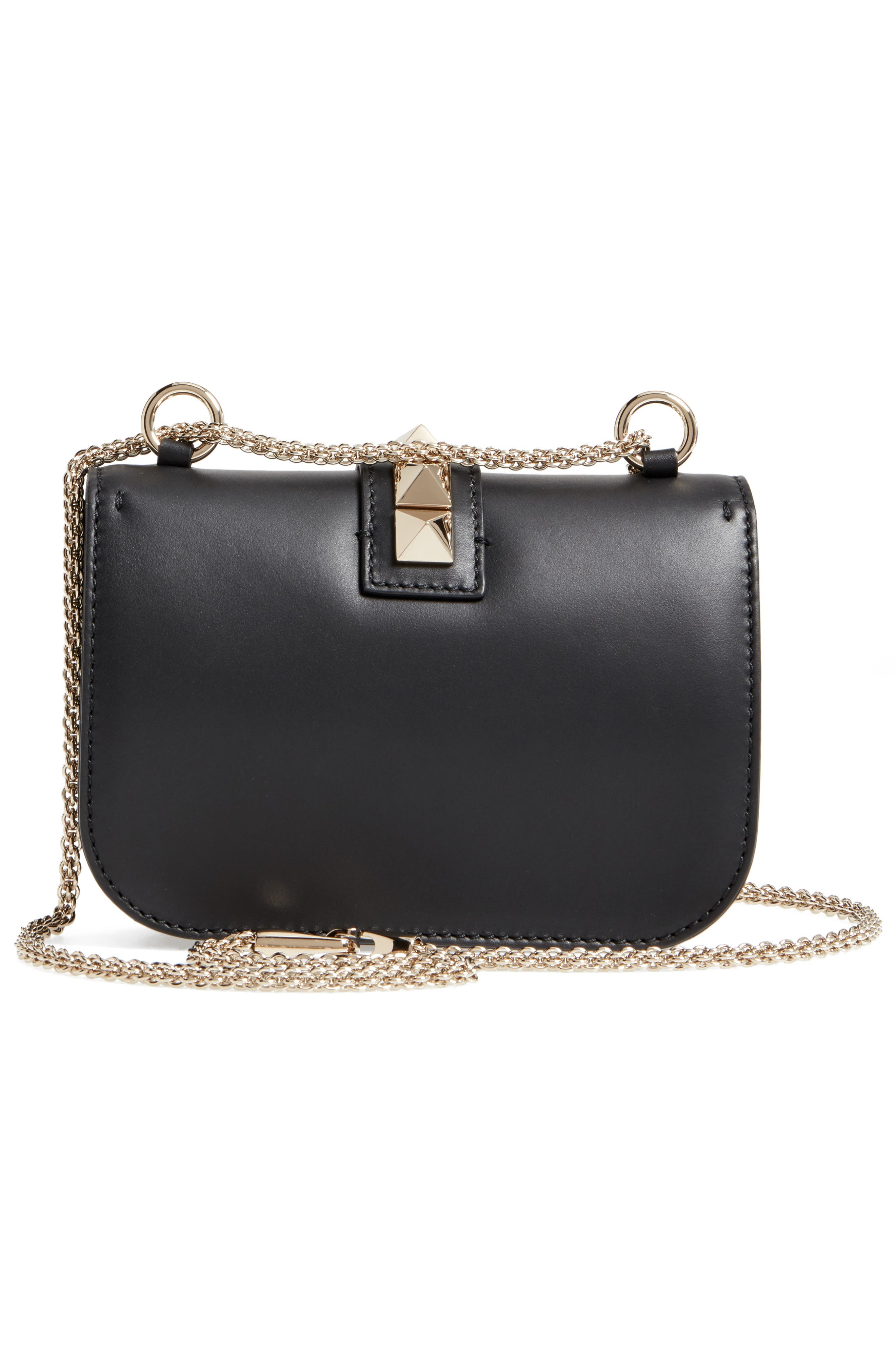 Small Lock Leather Crossbody Bag,                             Alternate thumbnail 3, color,                             NERO
