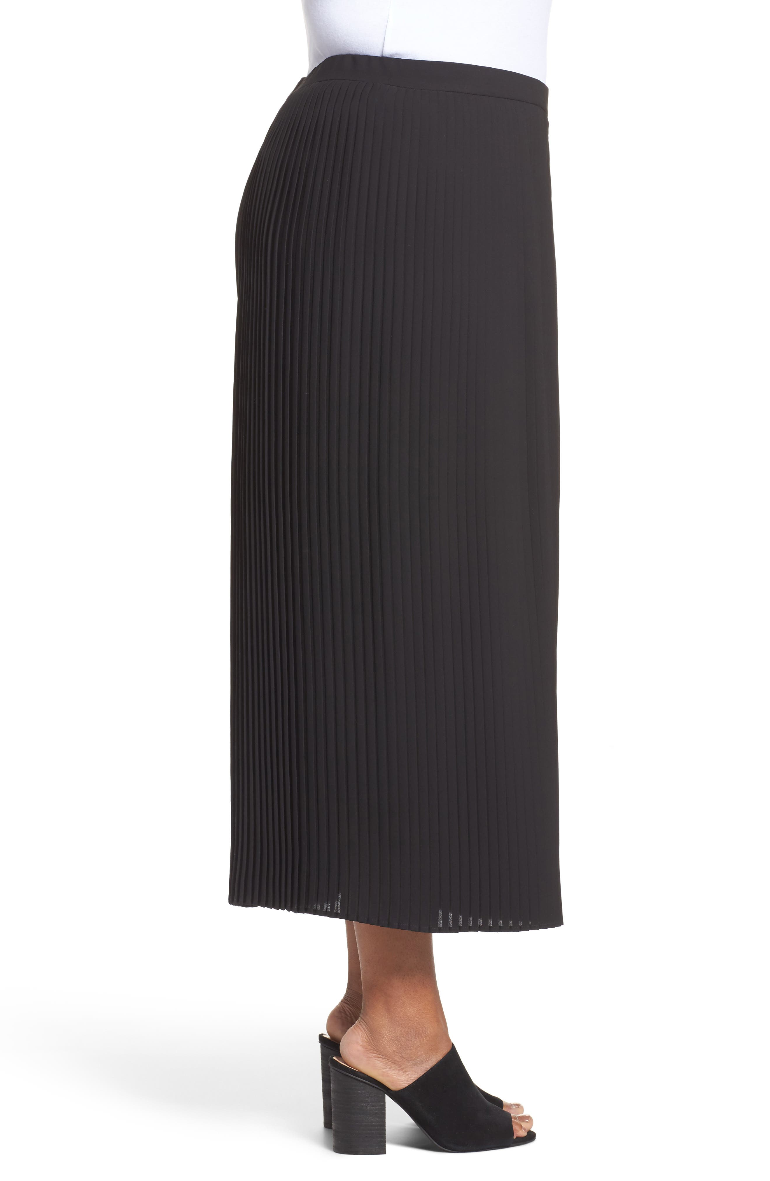 Pleat Wide Leg Ankle Pants,                             Alternate thumbnail 3, color,