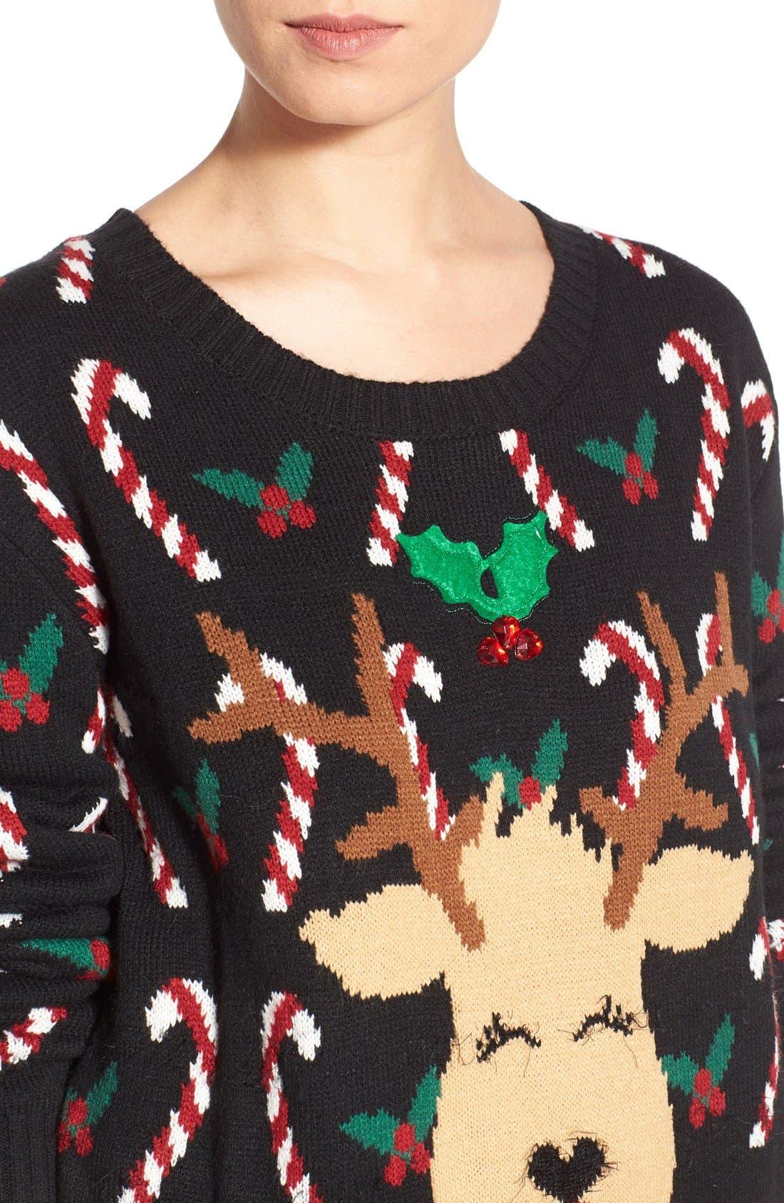 LOVE BY DESIGN,                             Mistletoe Reindeer Christmas Sweater,                             Alternate thumbnail 2, color,                             016
