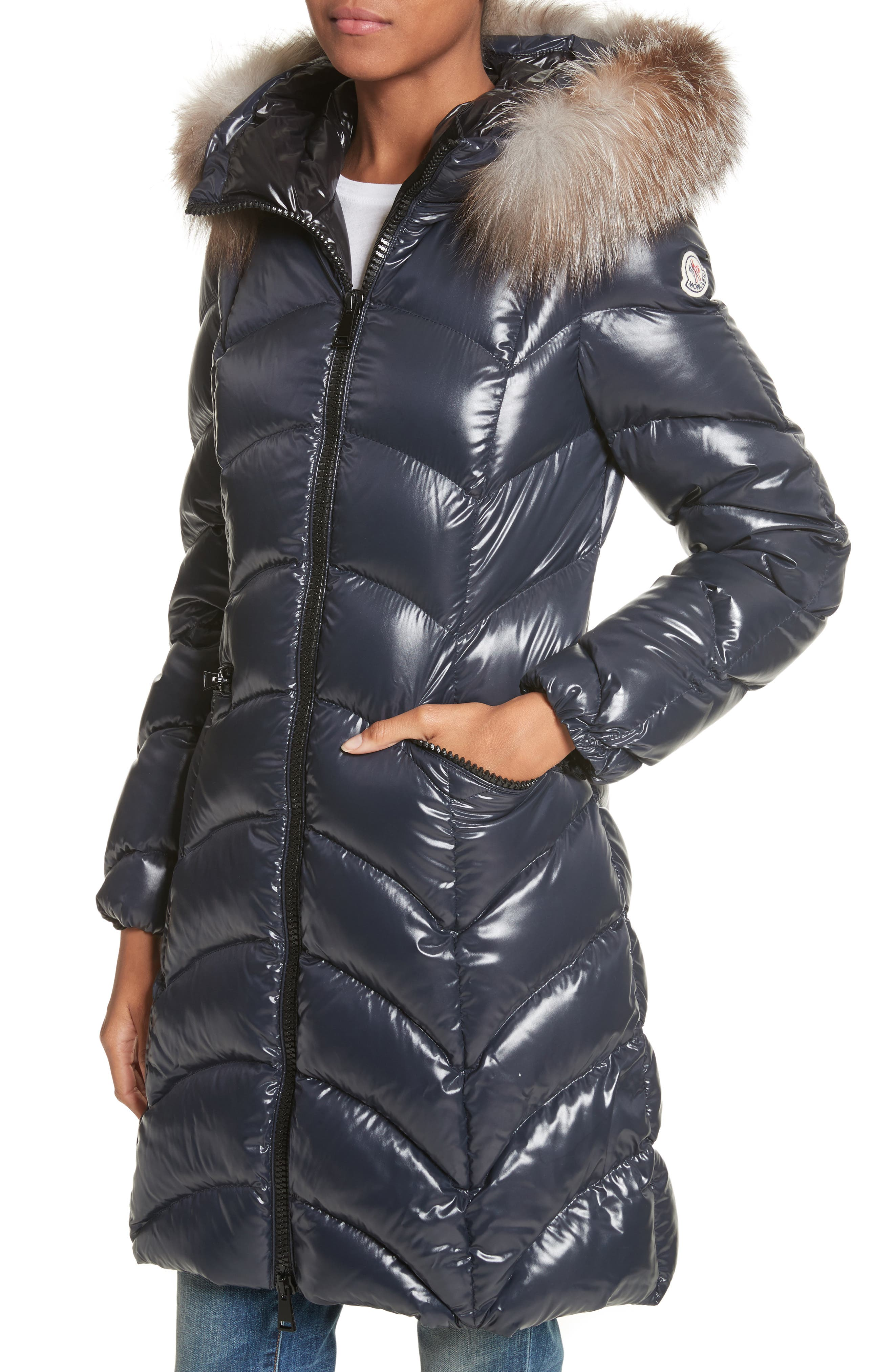 Albizia Down Puffer Coat with Genuine Fox Fur Trim,                             Alternate thumbnail 4, color,                             NAVY