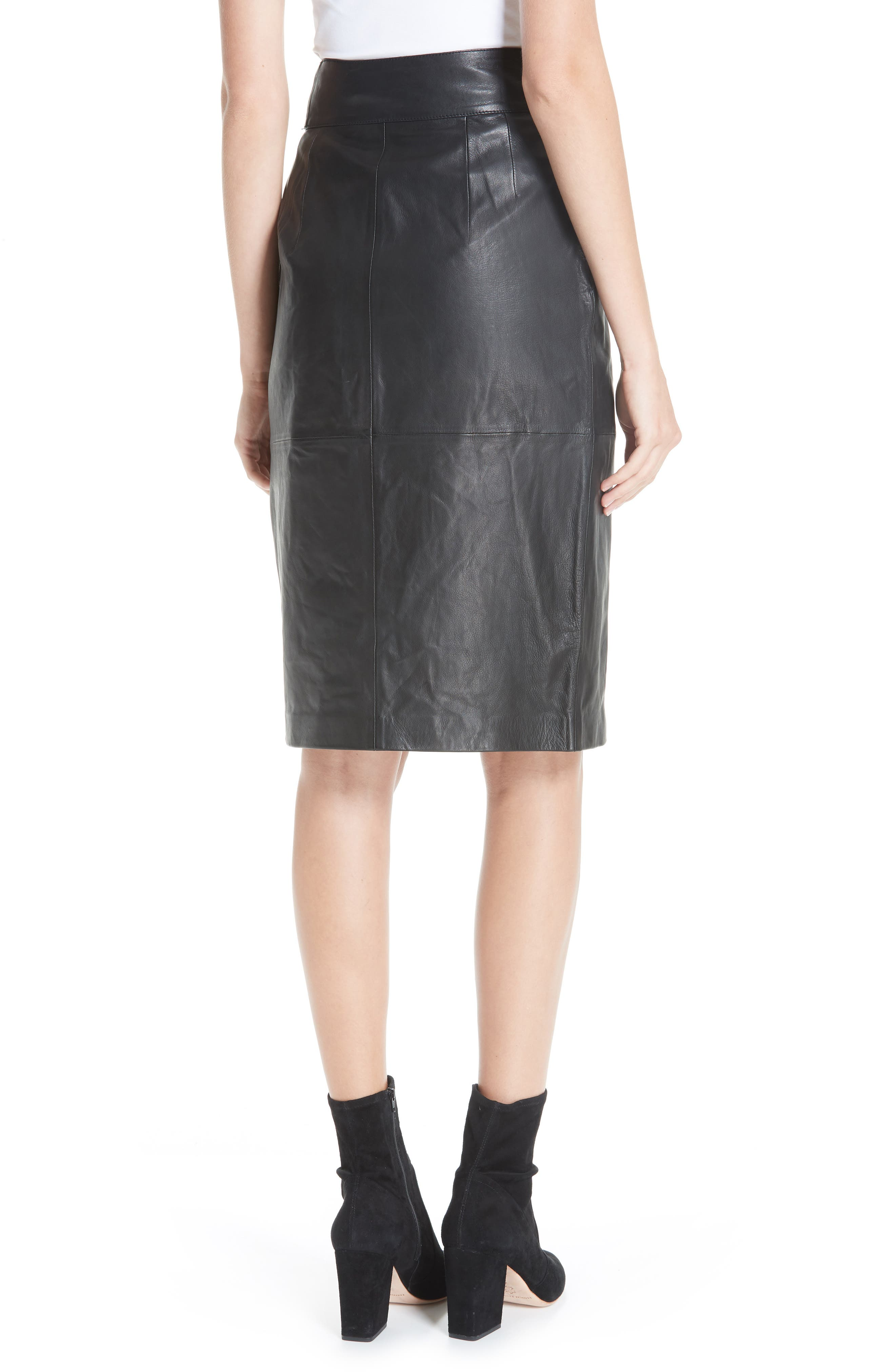 Magic Wrap Leather Skirt,                             Alternate thumbnail 2, color,                             BLACK