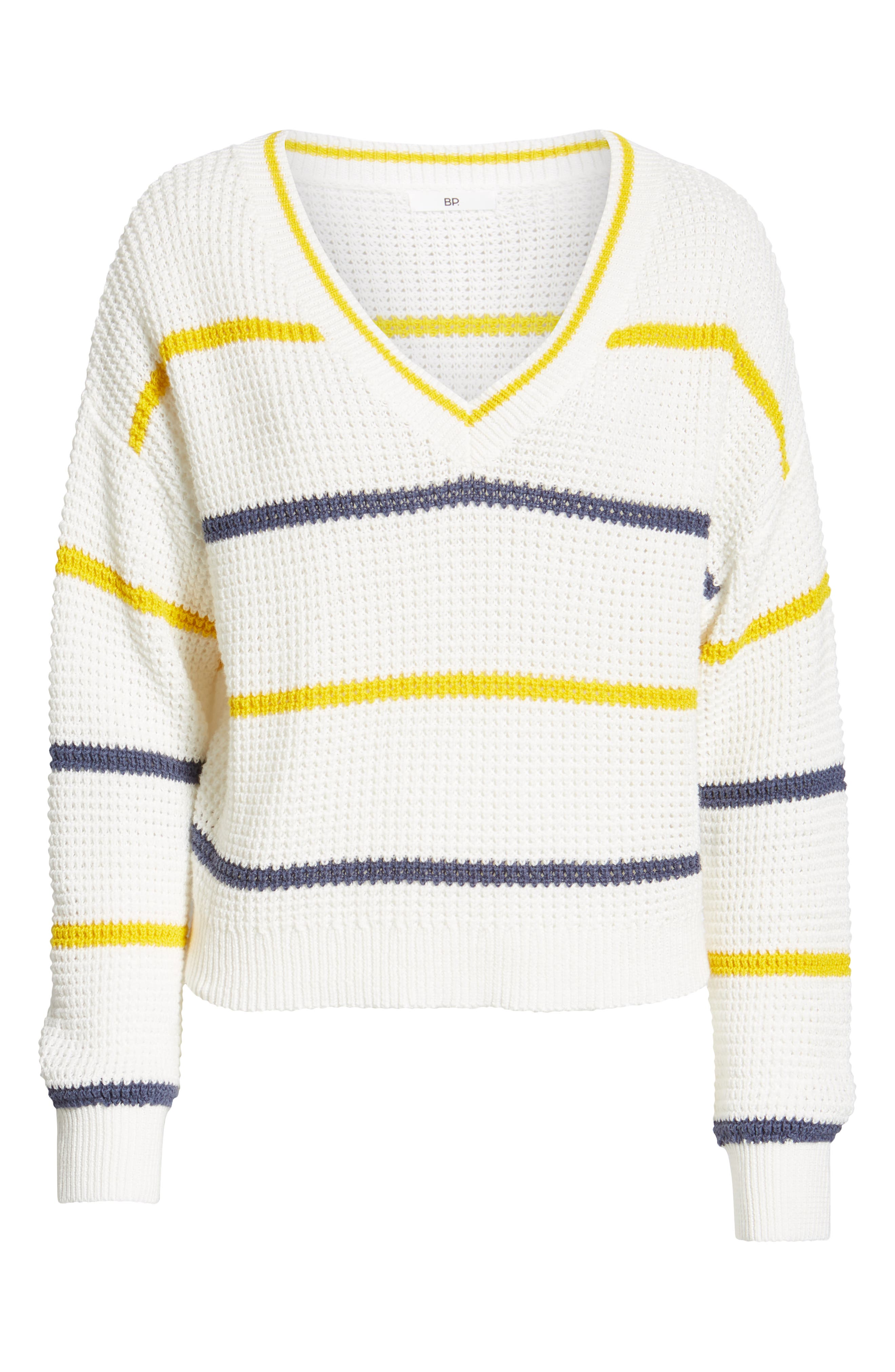 BP.,                             Stripe Cotton Thermal Sweater,                             Alternate thumbnail 7, color,                             IVORY SEA STRIPE