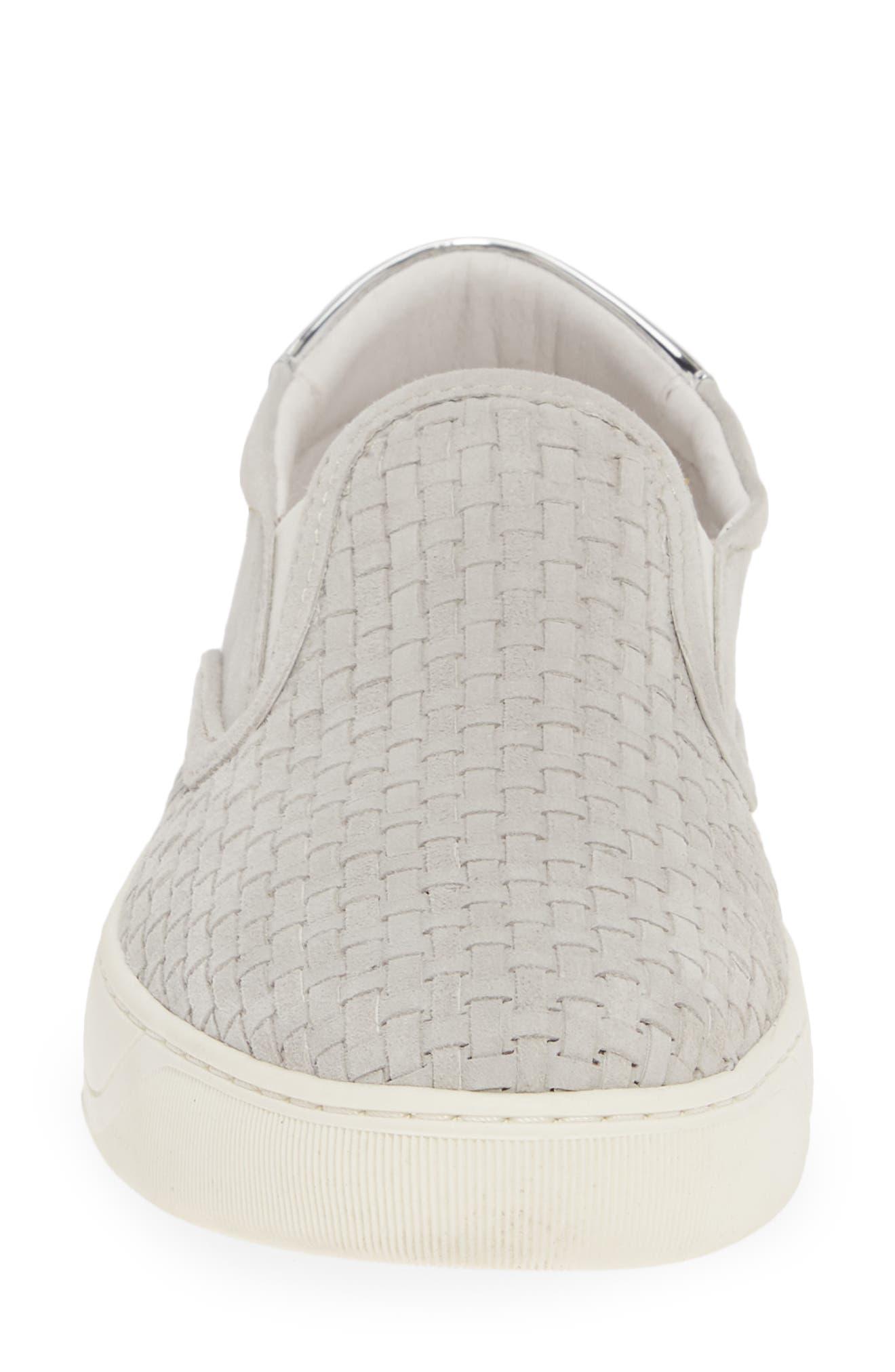 Elaine Woven Slip-On Sneaker,                             Alternate thumbnail 4, color,                             GREY SUEDE