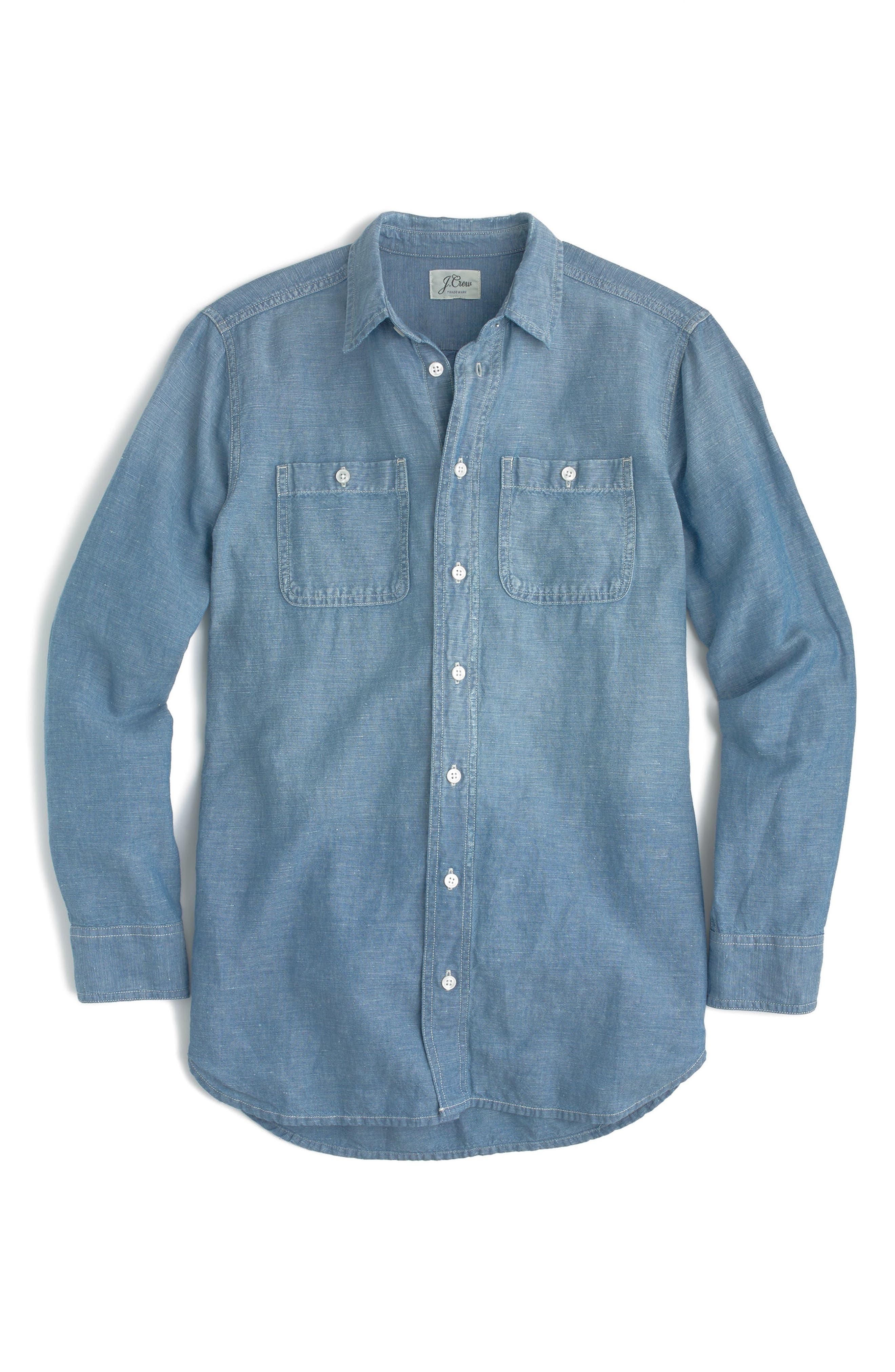Chambray Tunic Shirt,                             Alternate thumbnail 4, color,                             BLACK ROCK WASH