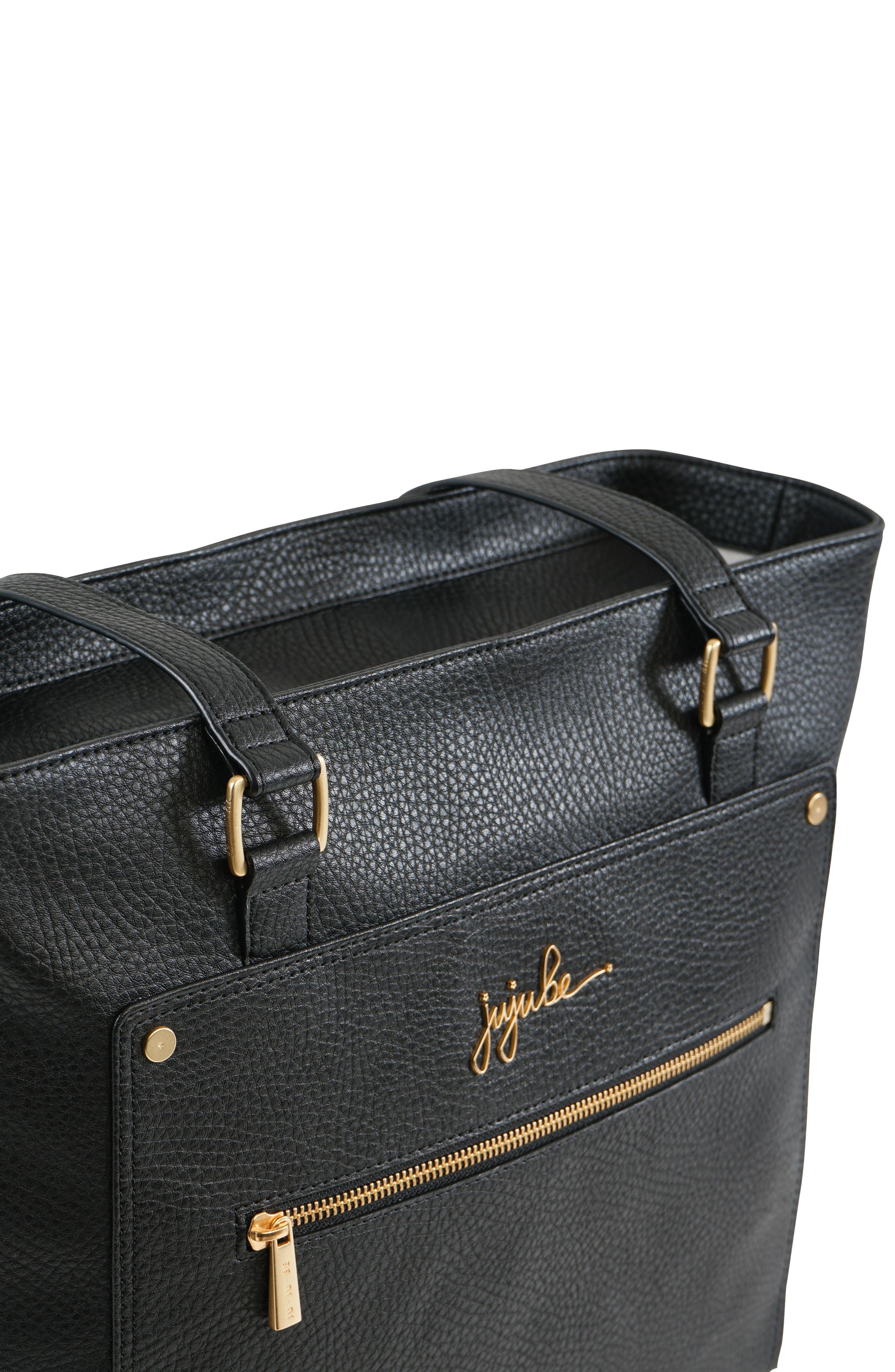 Ever Collection Everyday Faux Leather Diaper Tote,                             Alternate thumbnail 9, color,                             NOIR