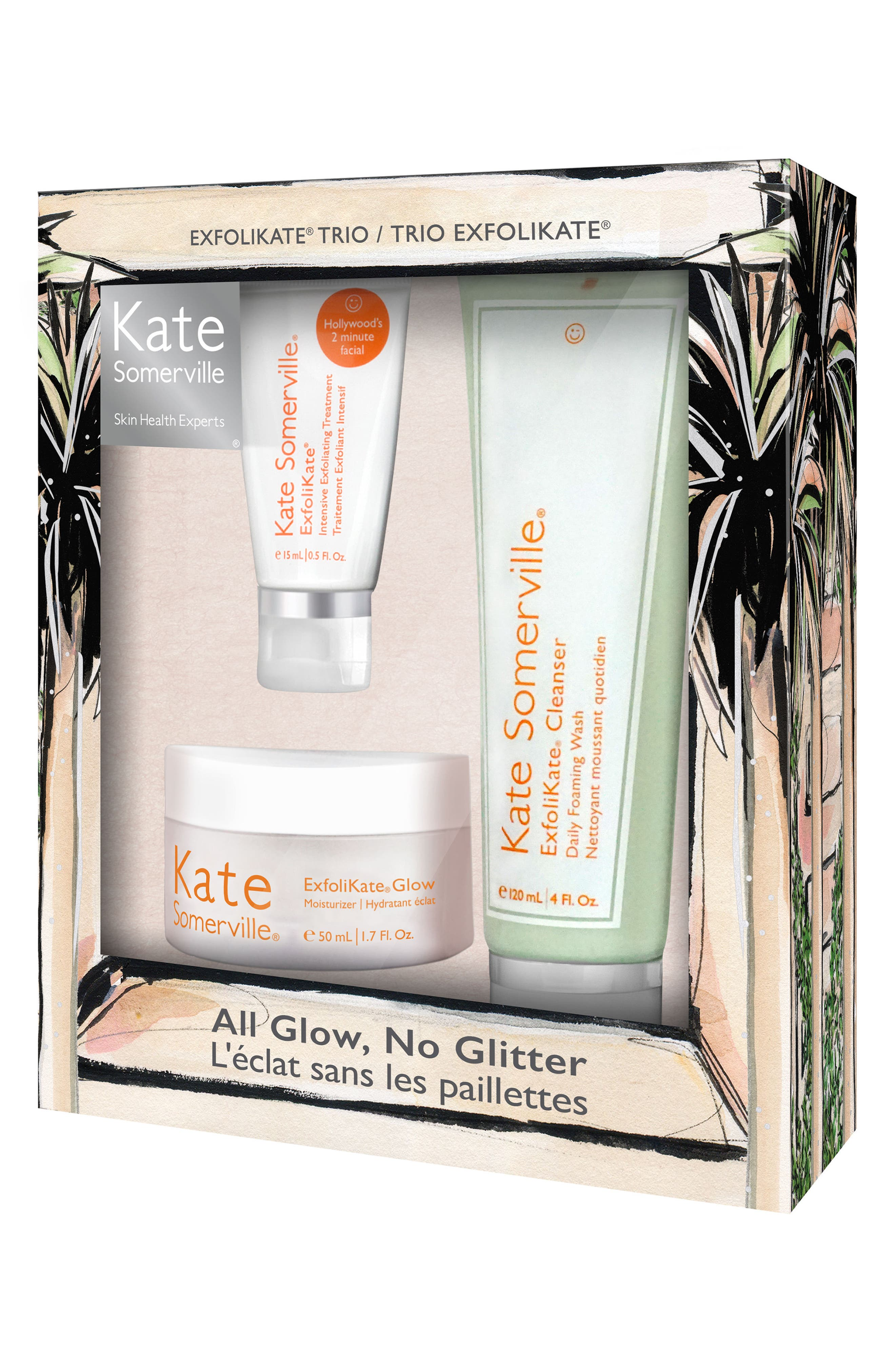 All Glow, No Glitter ExfoliKate<sup>®</sup> Trio,                             Alternate thumbnail 2, color,                             000