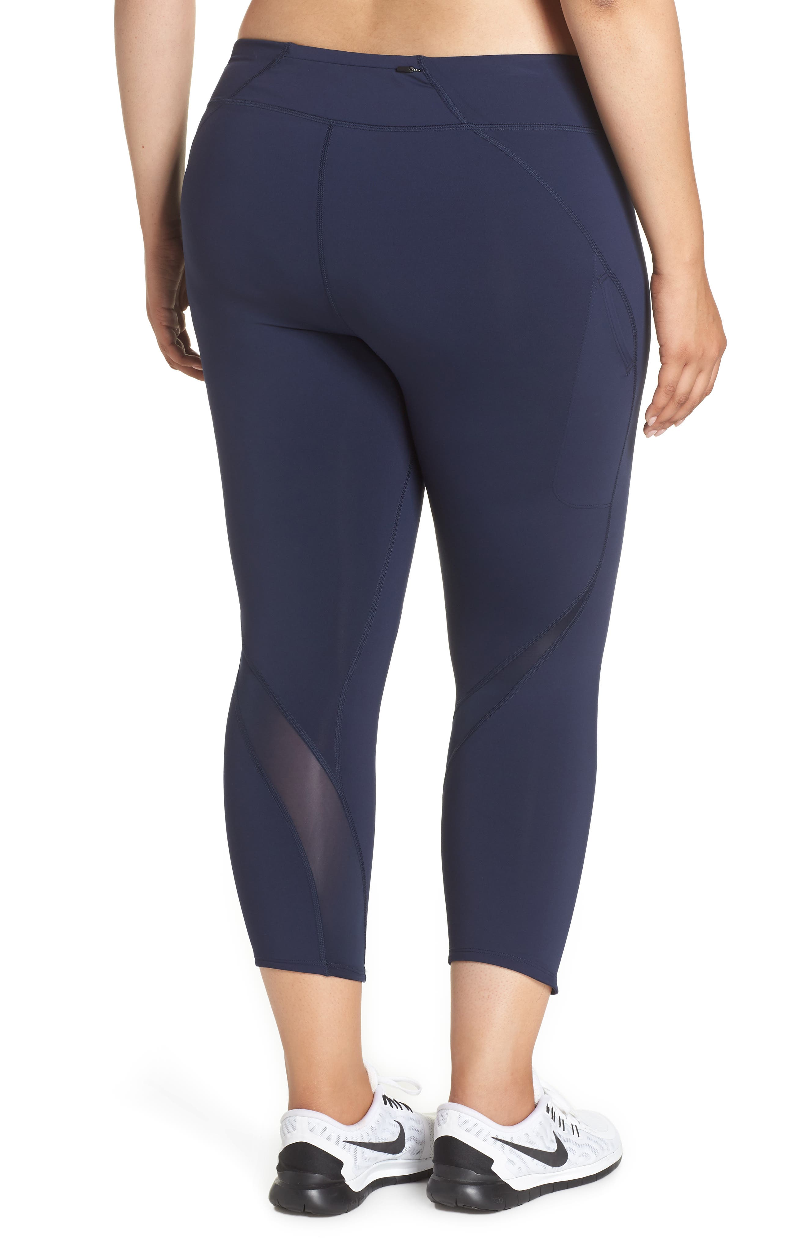 Power Epic Lux Crop Running Tights,                             Alternate thumbnail 2, color,                             OBSIDIAN