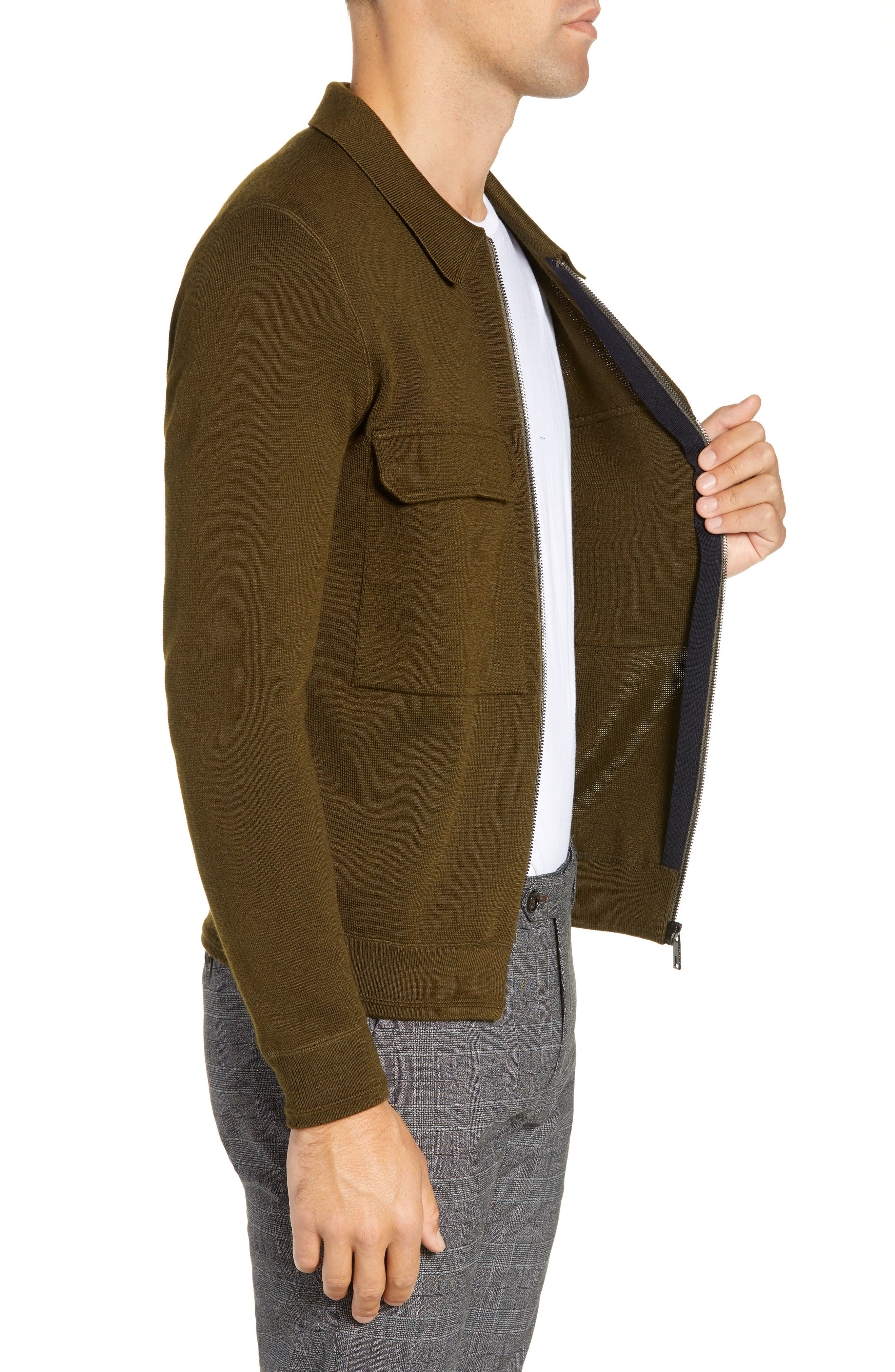 Akwa Slim Fit Zip Wool Blend Sweater,                             Alternate thumbnail 3, color,                             KHAKI