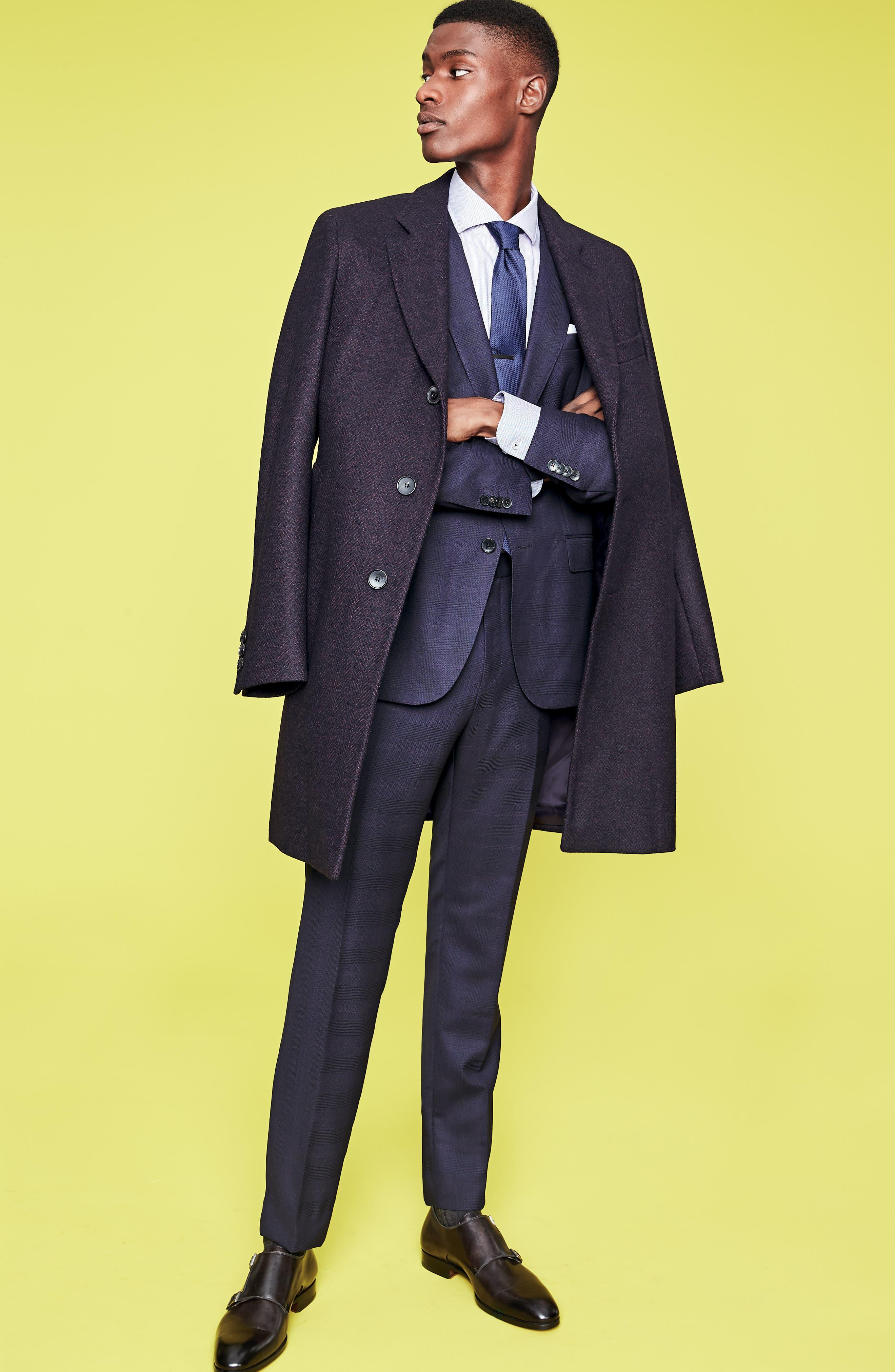 x Nordstrom Huge/Genius Trim Fit Plaid Wool Suit,                             Alternate thumbnail 12, color,                             NAVY