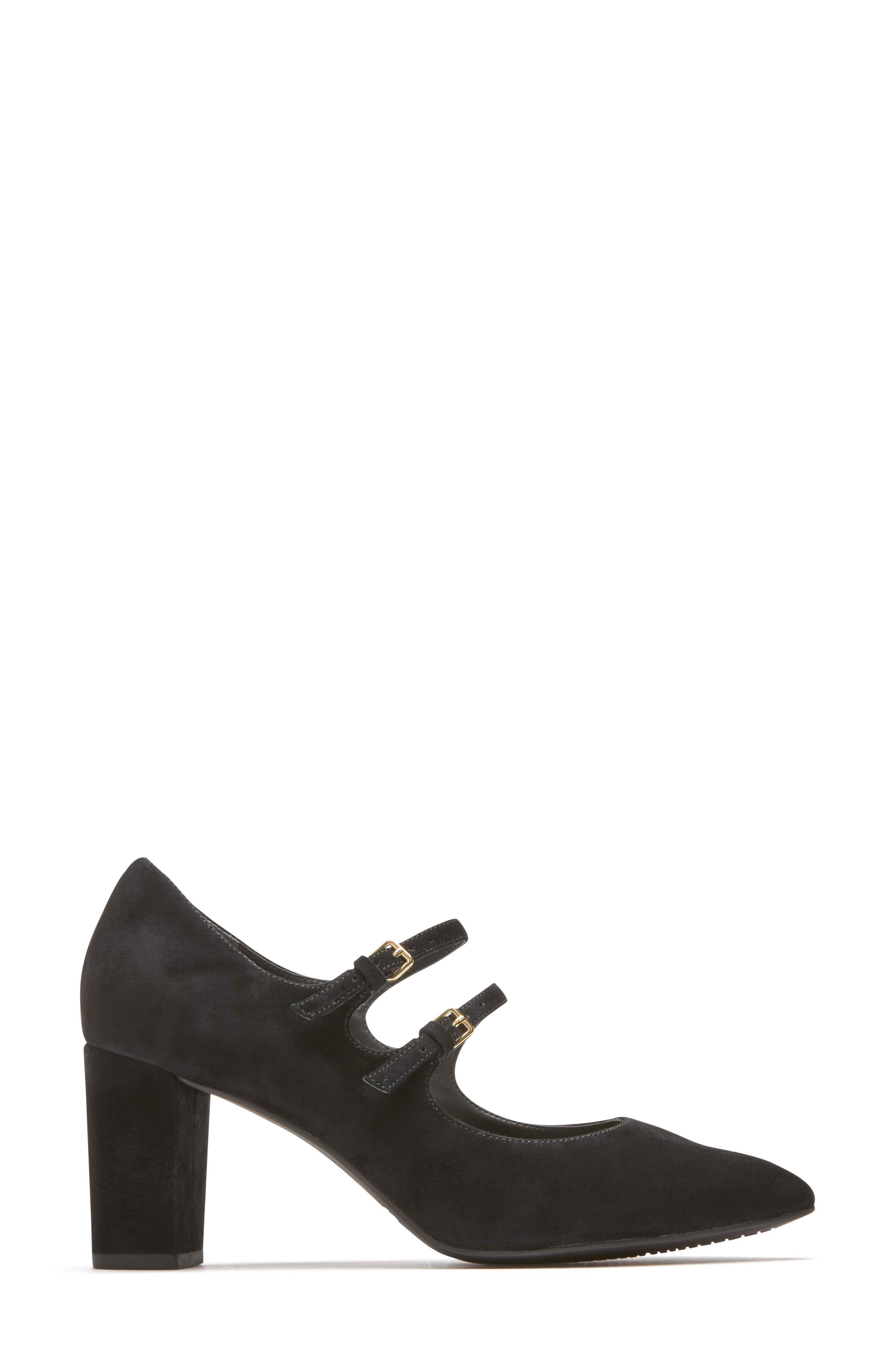Violina Luxe Double Strap Mary Jane Pump,                             Alternate thumbnail 3, color,                             BLACK SUEDE