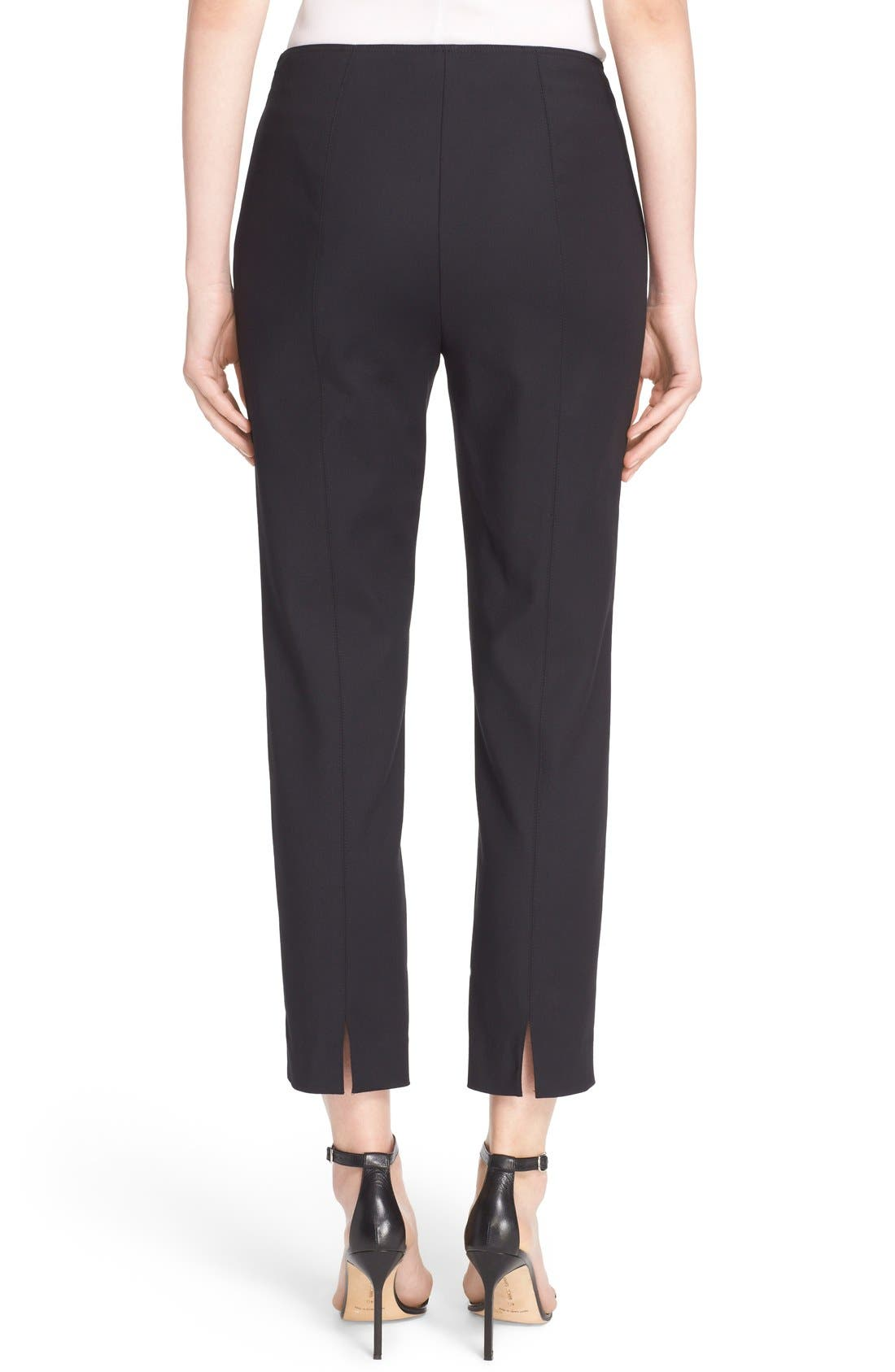 John Collection 'Alexa' Stretch Micro Ottoman Ankle Pants,                             Alternate thumbnail 2, color,                             CAVIAR