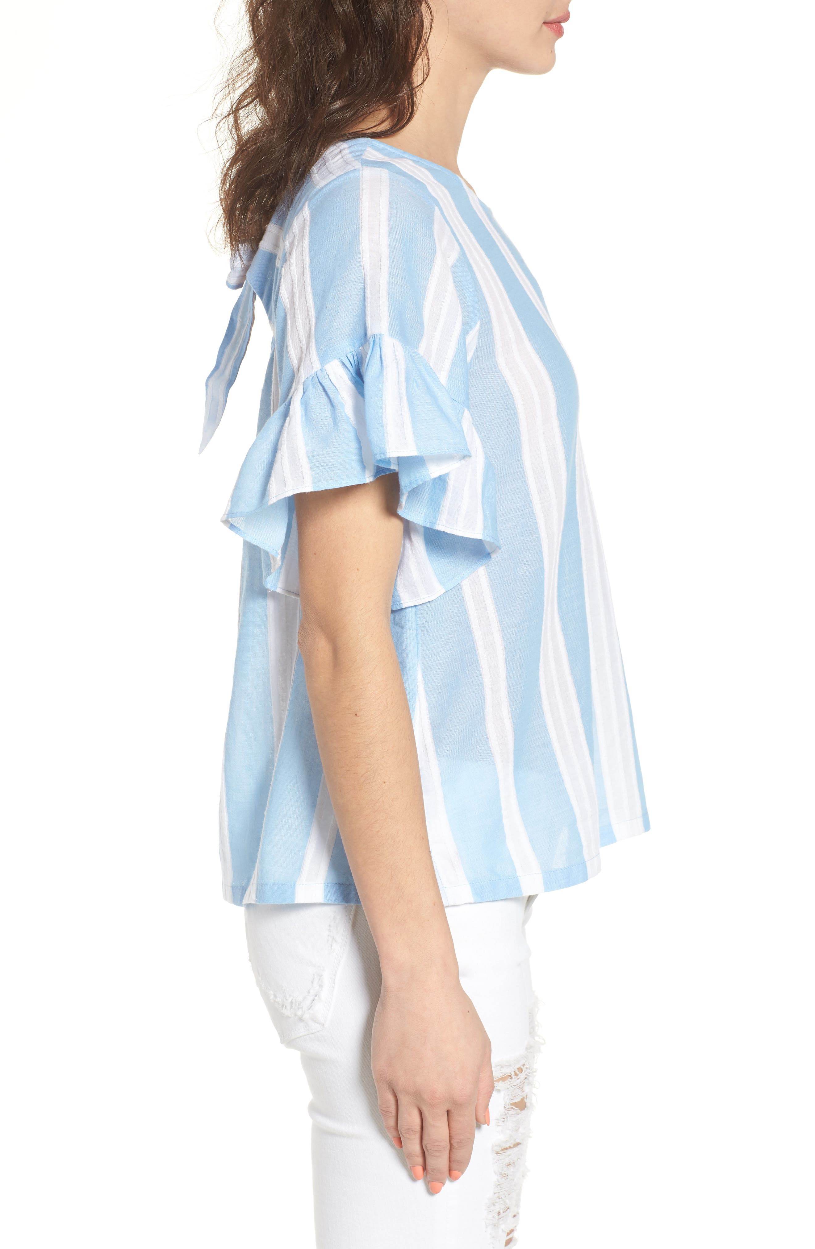 Stripe Tie Back Top,                             Alternate thumbnail 3, color,                             420