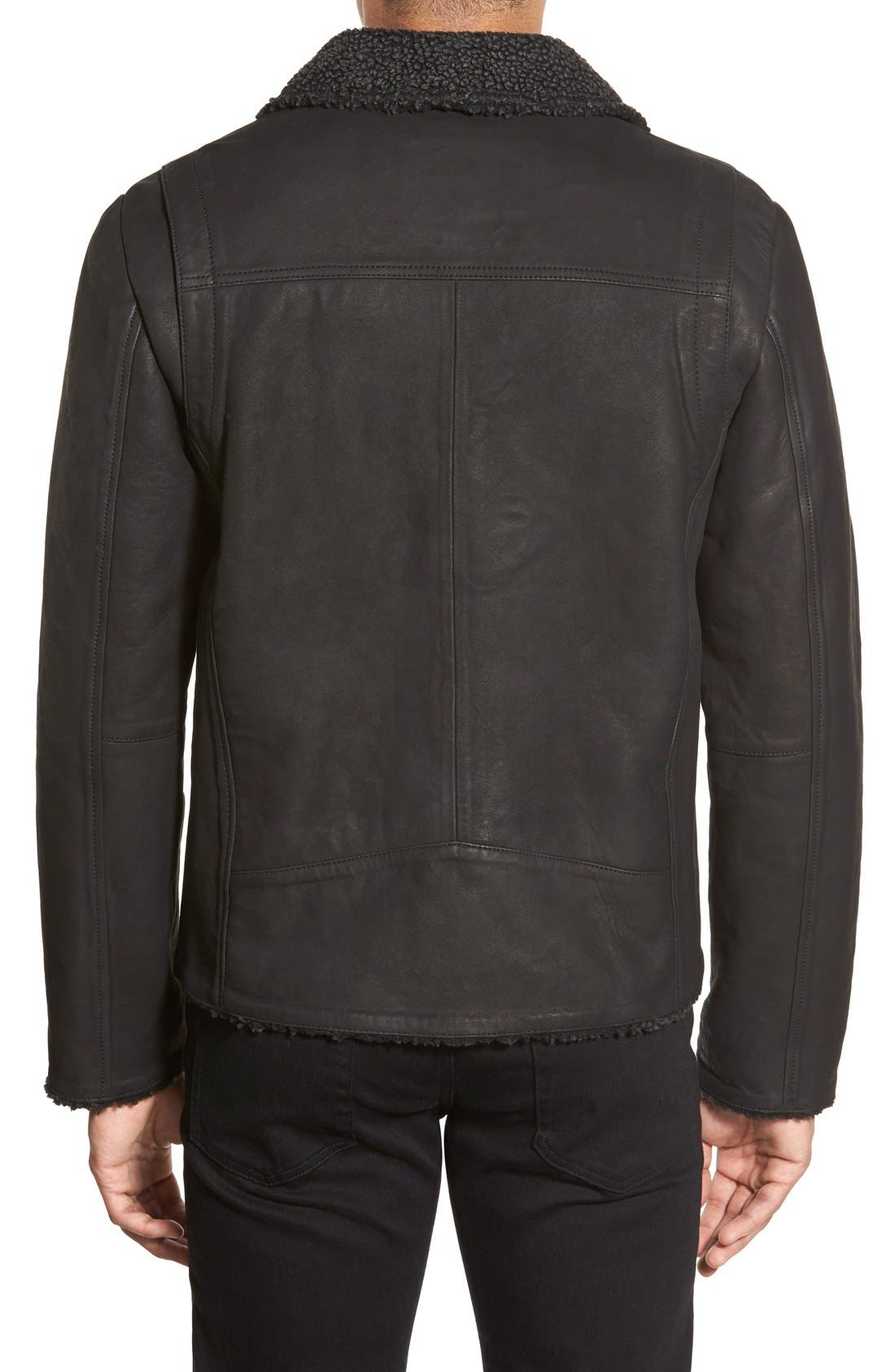 Leather Moto Jacket with Faux Shearling Lining,                             Alternate thumbnail 2, color,