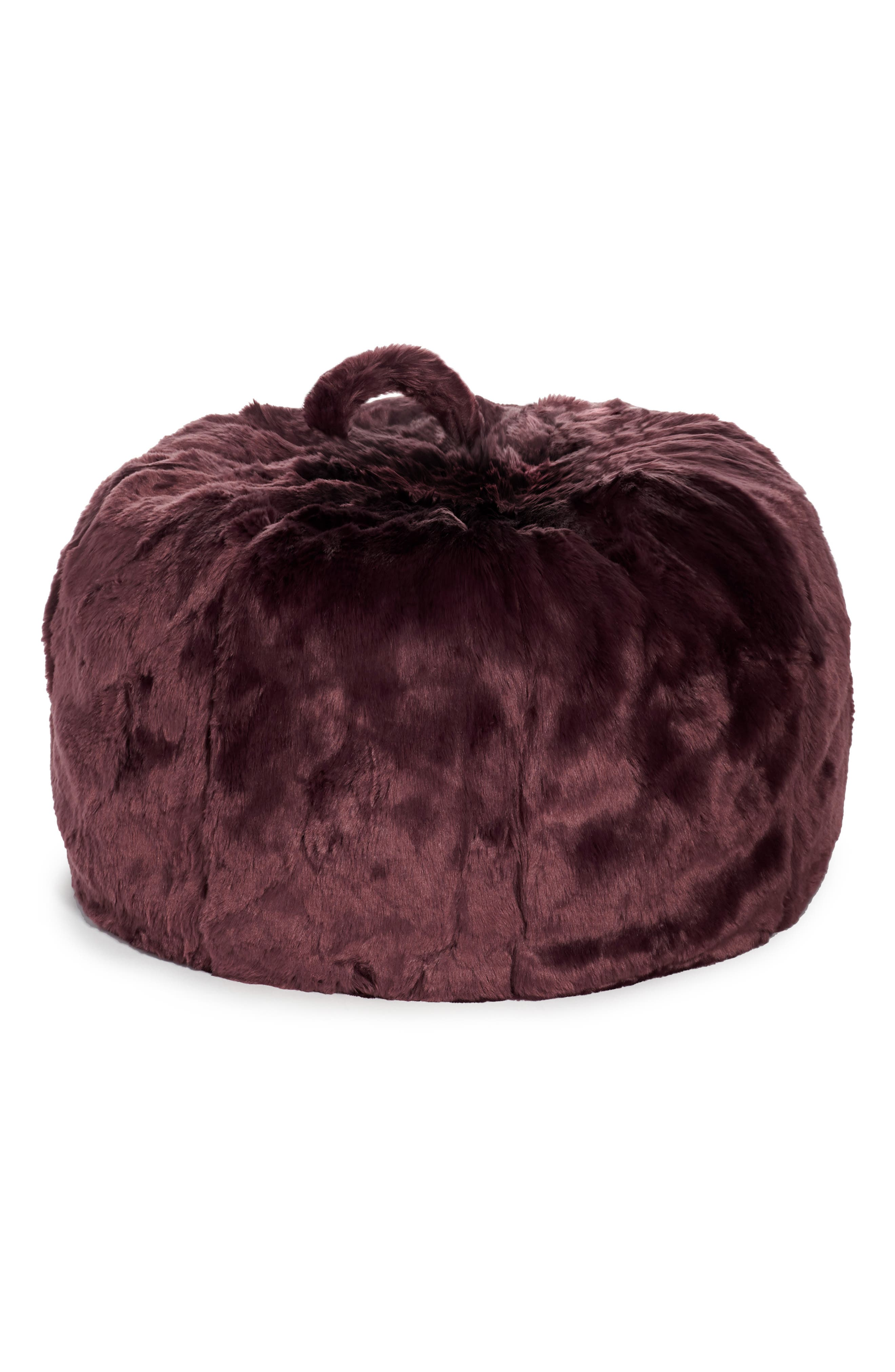 Cuddle-Up Faux Fur Beanbag Chair,                             Main thumbnail 1, color,                             BURGUNDY STEM