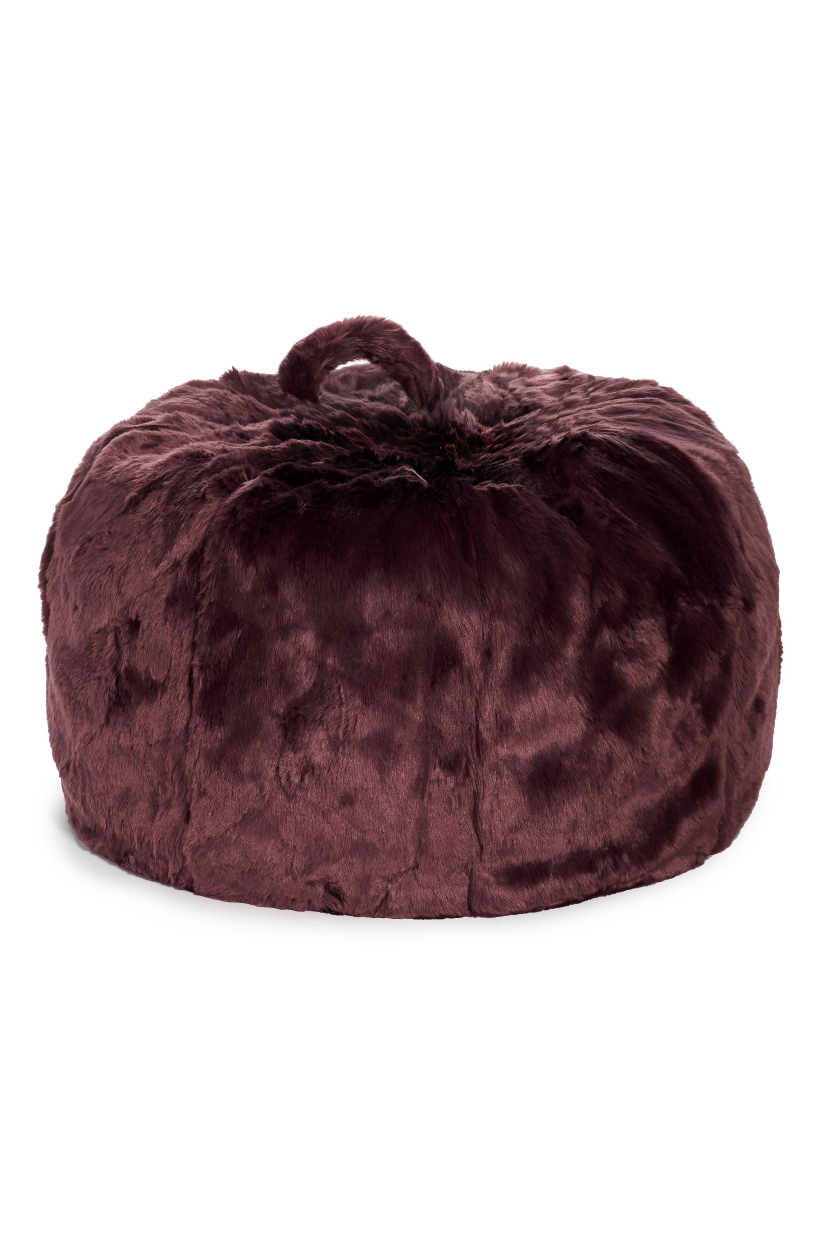 Cuddle-Up Faux Fur Beanbag Chair, Main, color, BURGUNDY STEM