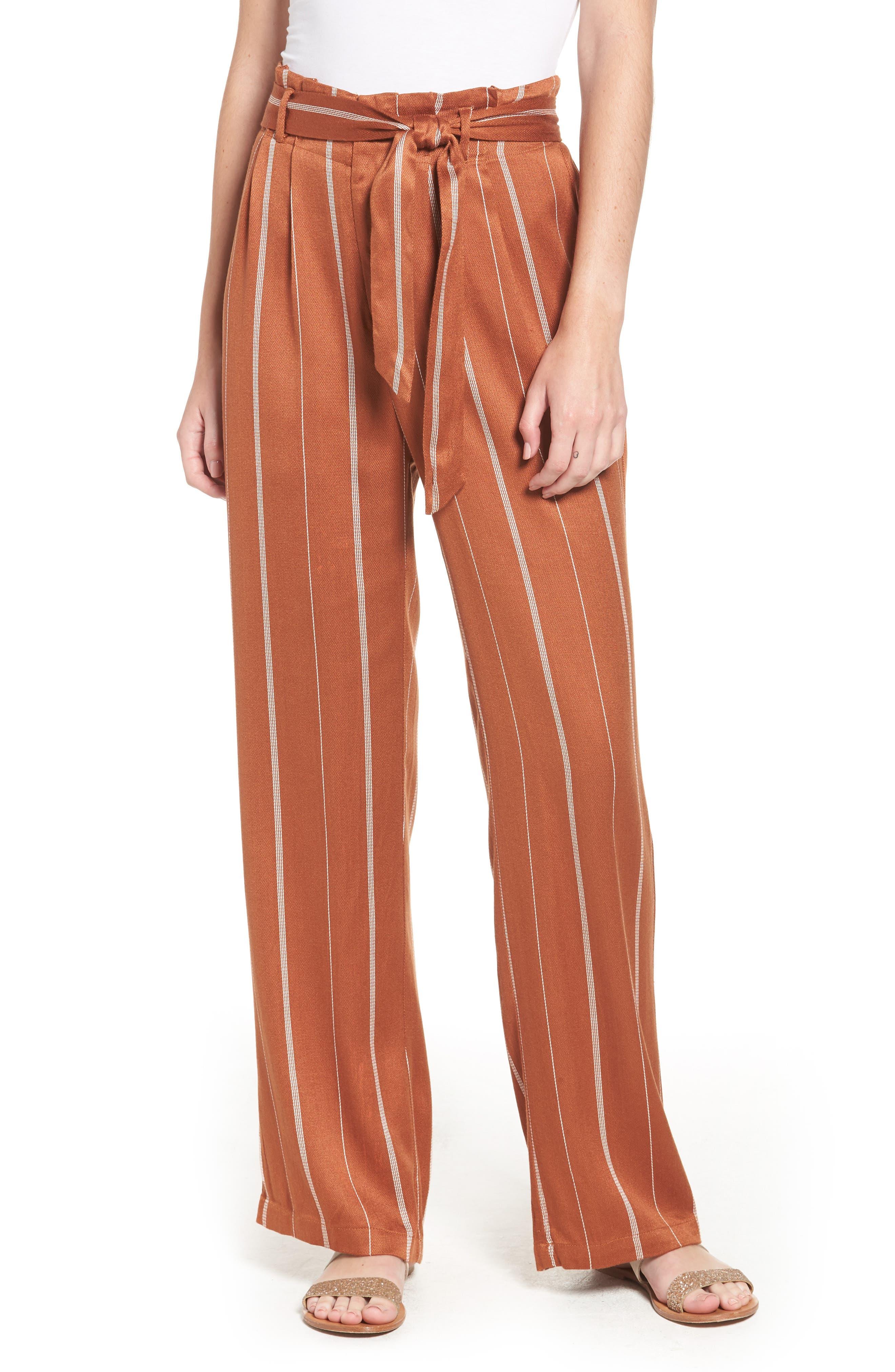 Paperbag Waist Pants,                         Main,                         color, RUST CIDER/ CREAM STRIPES